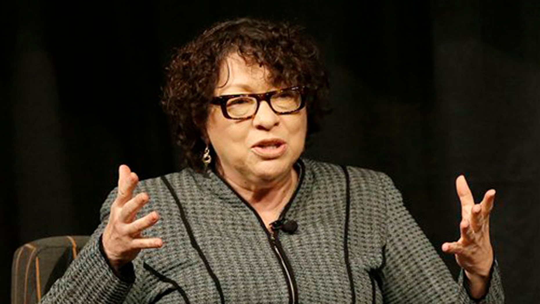 FILE - In this Oct. 20, 2014 file-pool photo, Supreme Court Justice Sonia Sotomayor speaks in San Jose, Calif. A hallmark in the search for a new Supreme Court justice is the secretive process for making sure the choice is kept under wraps until the president is ready to reveal it.  (AP Photo/Jeff Chiu, File-Pool)