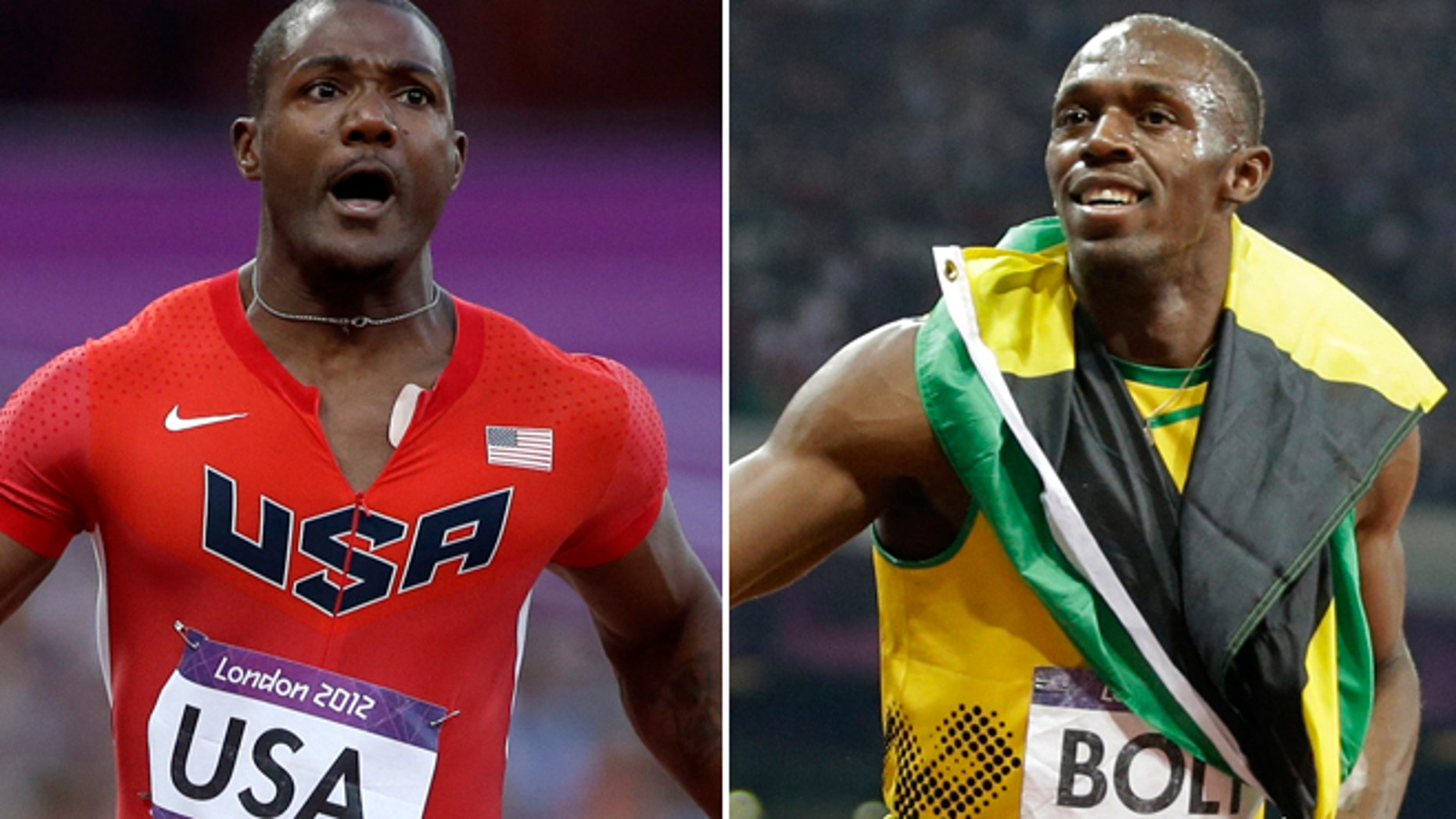 Justin Gatlin and the American relay team will face off Saturday against Usain Bolt and the Jamaican team in the 4x100-meter relay.