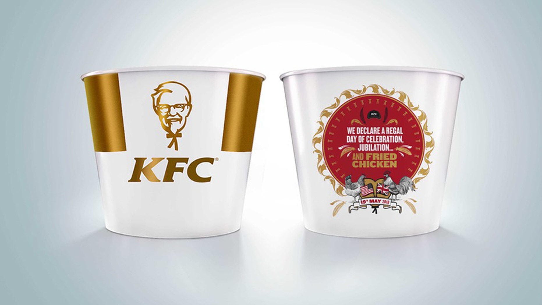 KFC is celebrating the royal couple with a special chicken bucket design.