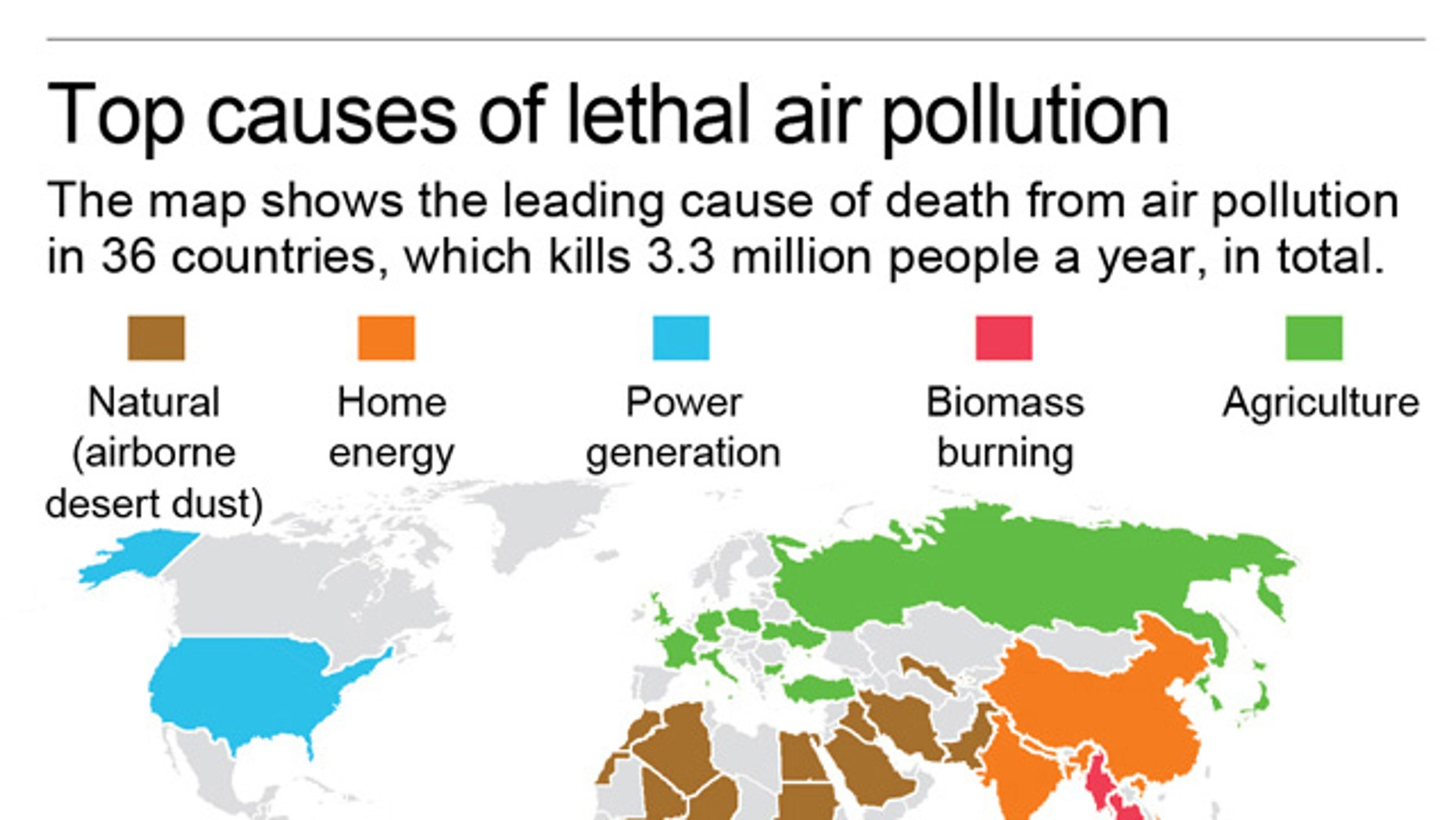 The map shows the single leading cause of death from air pollution in 36 countries.