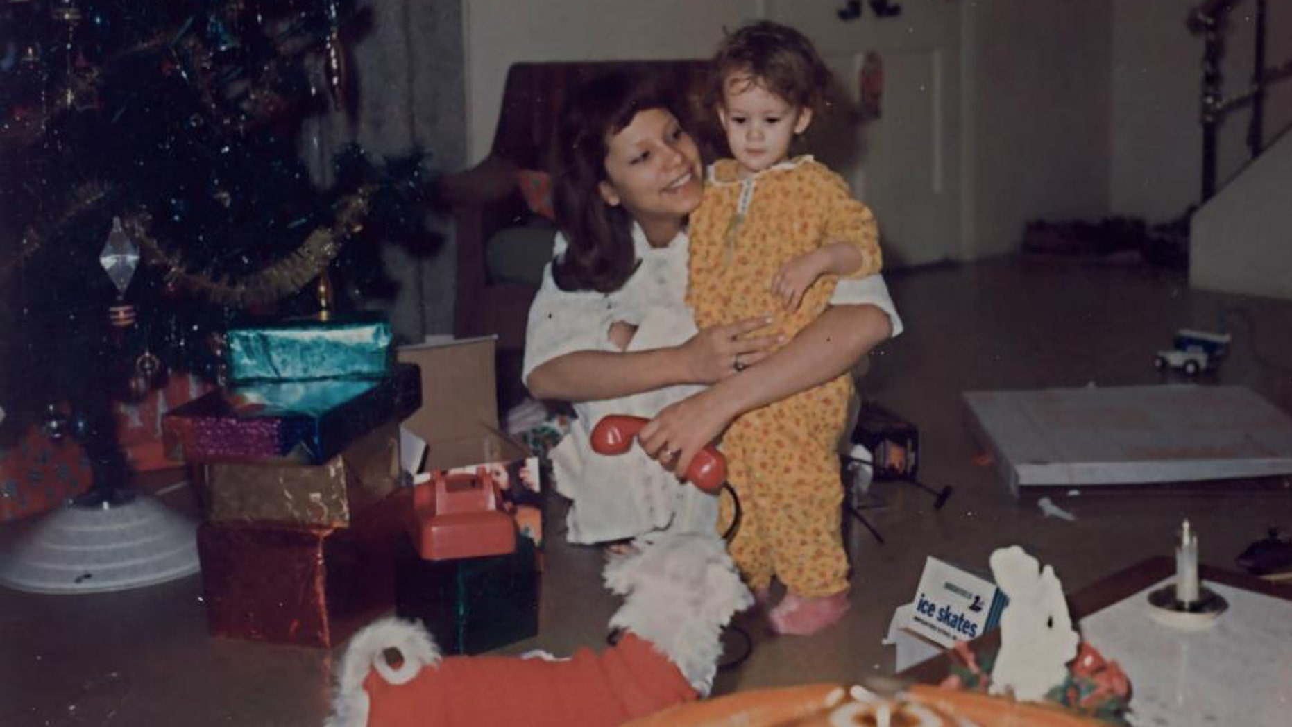 Kim Keller and her mother on a Christmas morning in the 1970s.