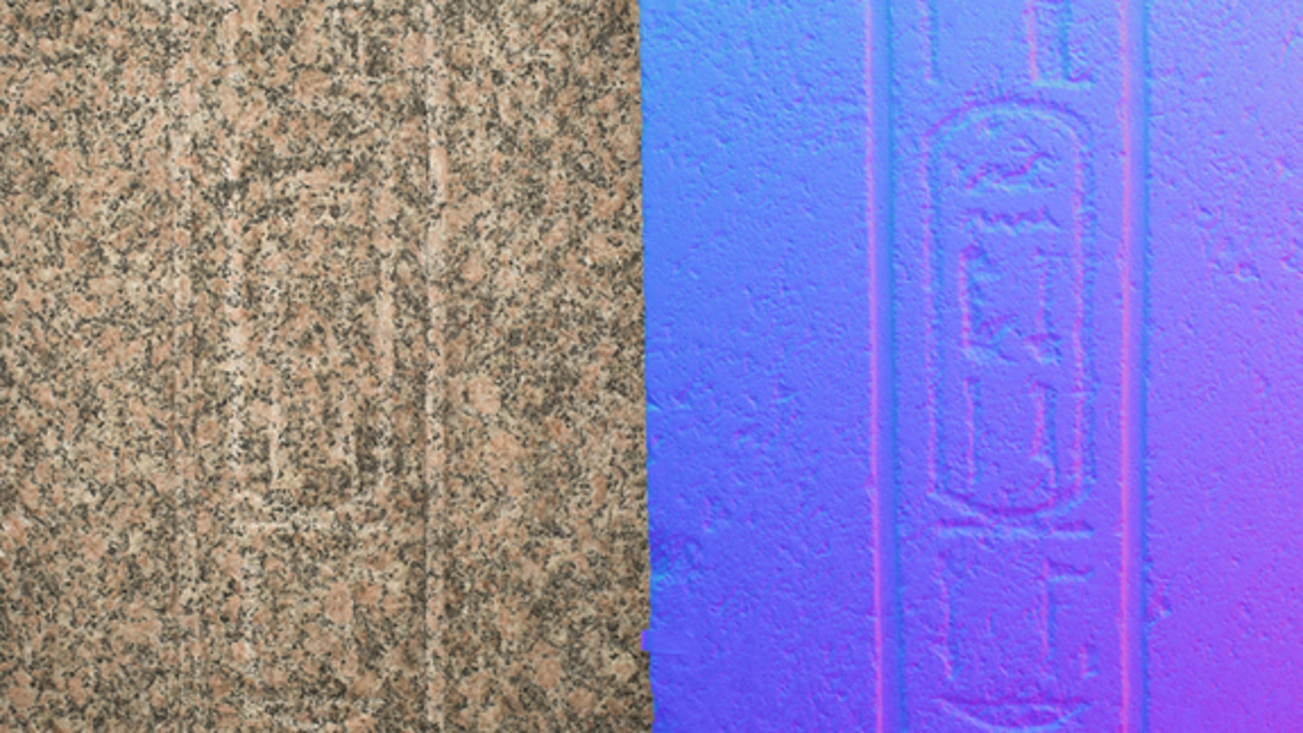 This image shows the power of reflectance transformation imaging (RTI) in an image of the Philae obelisk.