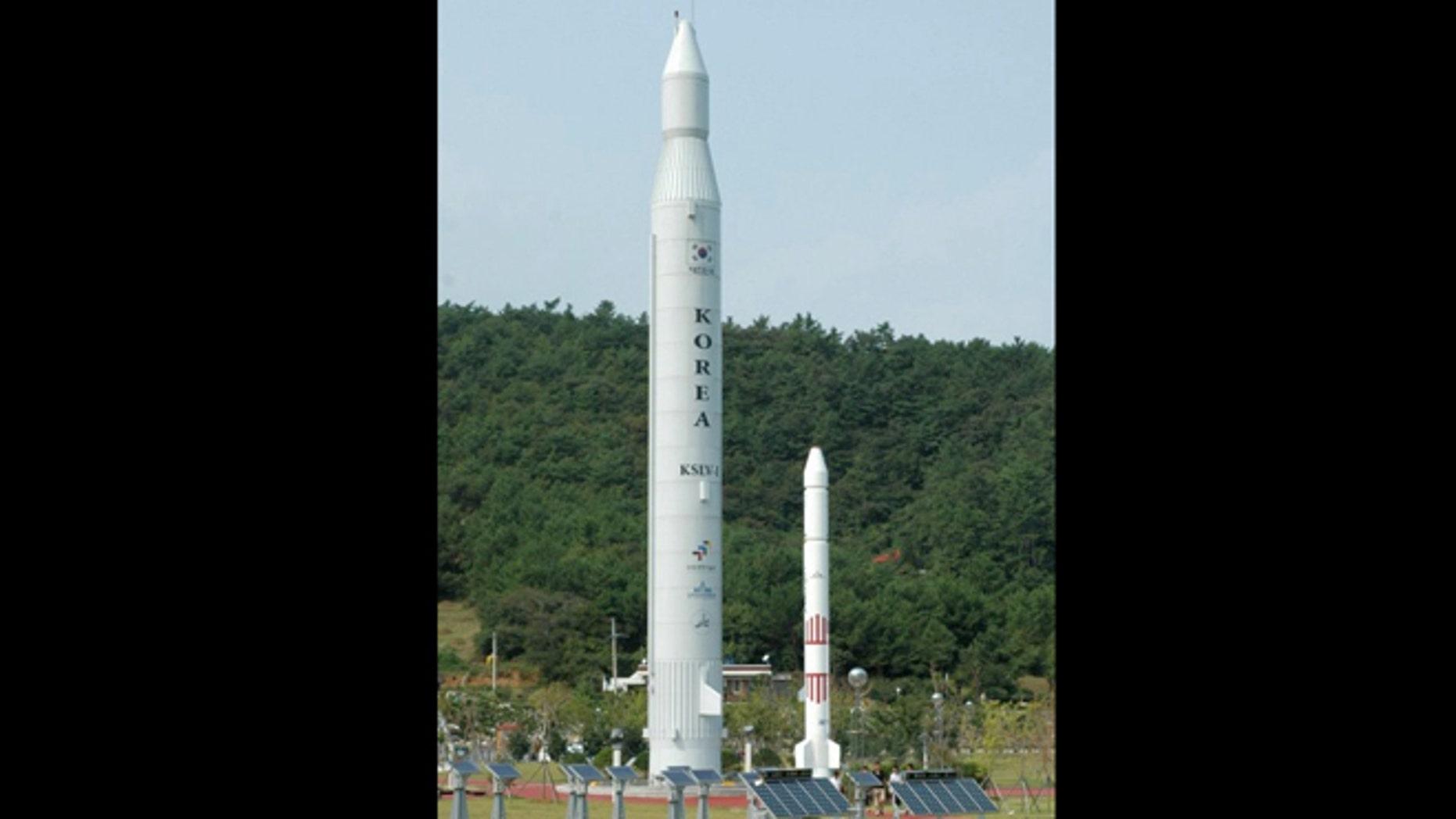 Sept. 9, 2009: A life-size replica of South Korea's KSLV-1 Naro rocket, seen at a public exhibition area of Naro Space Center.
