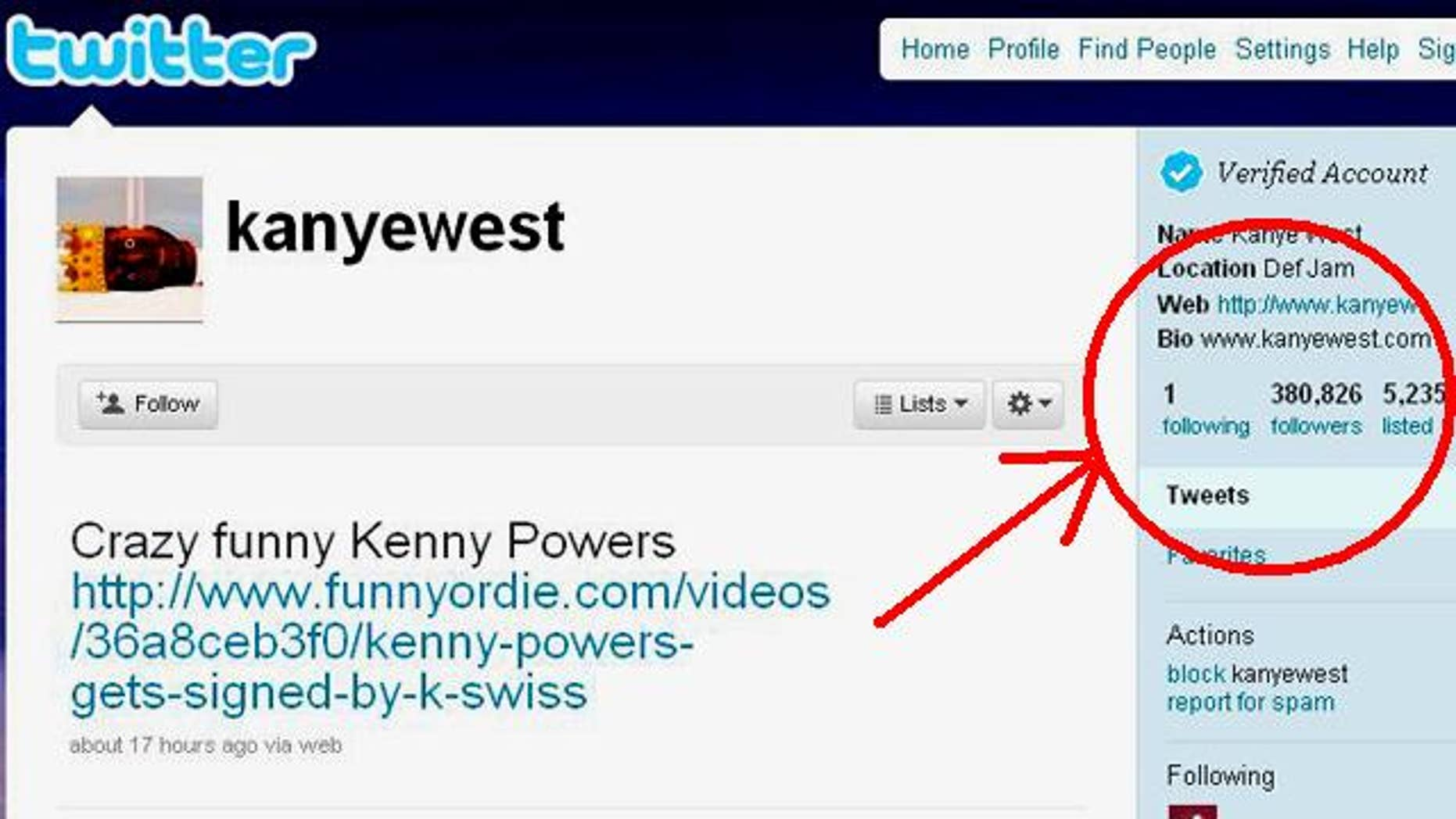 Rap star Kanye West recently made a big change in his online life: He's finallly found someone worth following on the micro-blogging site Twitter.