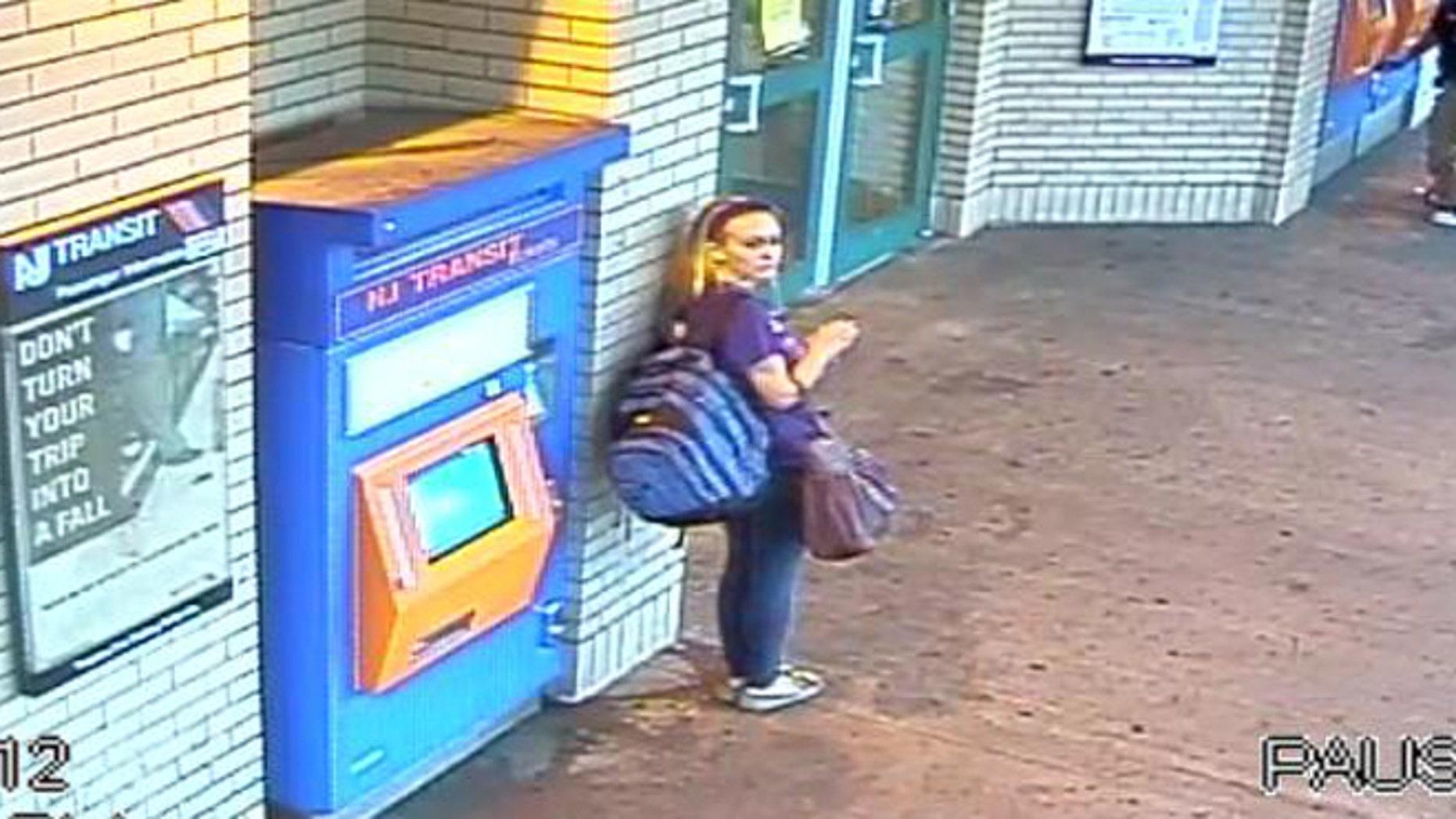 Sept. 30:  image from surveillance video shows Kara Alongi at the Rahway, N.J. train station.