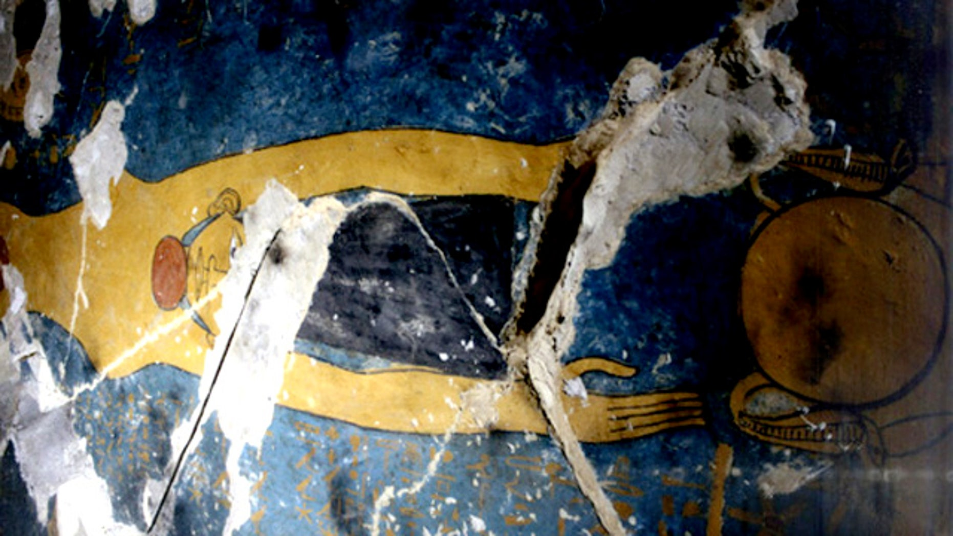 Painted ceiling of Karakhamun's burial chamber. This scene depicts the sky goddess, Nut.