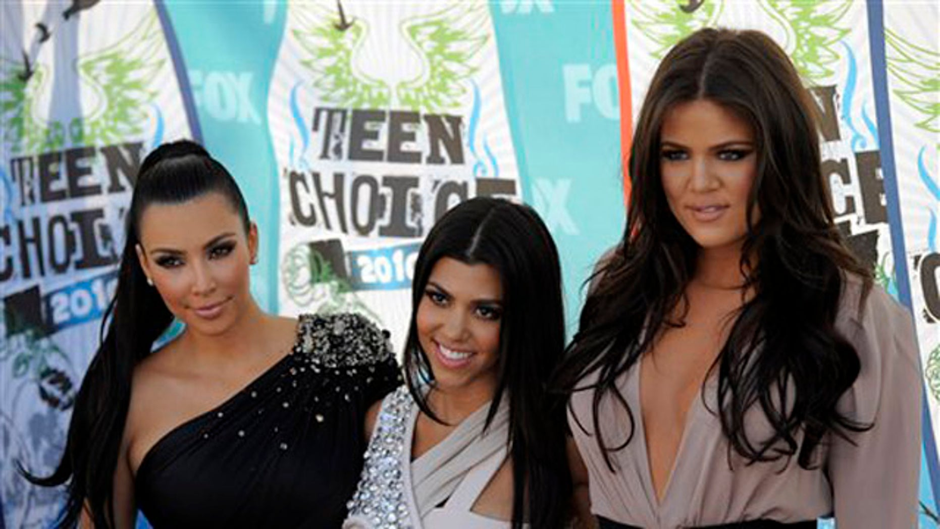 Aug. 8, 2010: From left, Kim Kardashian, Kourtney Kardashian and Khloe Kardashian arrive at the Teen Choice Awards in Universal City, Calif.