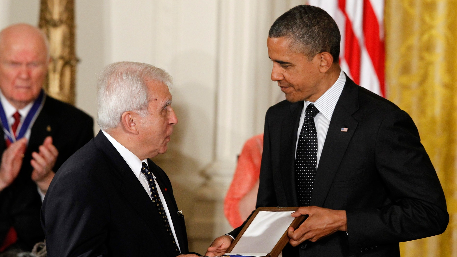 May 29, 2012: President Barack Obama awards the Medal of Freedom to former Polish Foreign Minister Adam Daniel Rotfeld who is accepting for Jan Karski, a resistance fighter against the Nazi occupation of Poland during World War II, during a ceremony in the East Room of the White House in Washington.