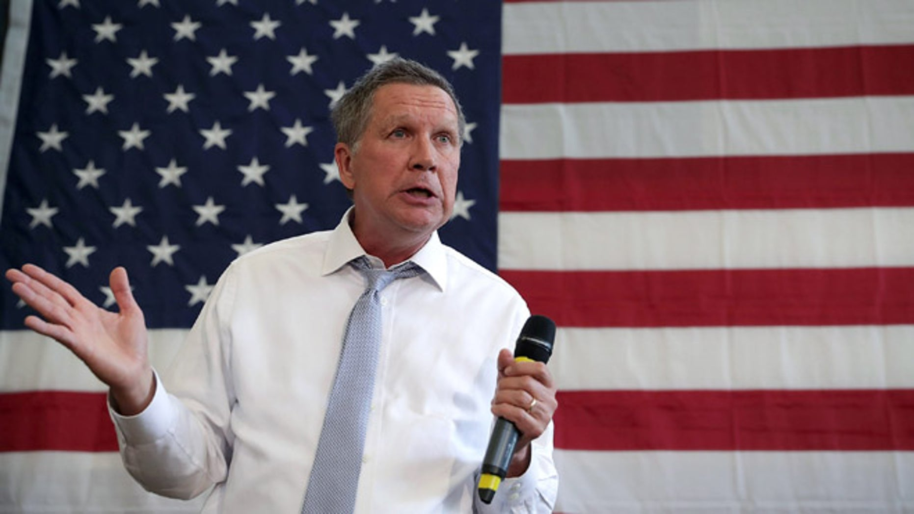 ROCKVILLE, MD - APRIL 25:  Republican presidential candidate and Ohio Governor John Kasich speaks during a campaign event April 25, 2016 in Rockville, Maryland. Governor Kasich continued to seek for his party��s nomination for the general election.  (Photo by Alex Wong/Getty Images)