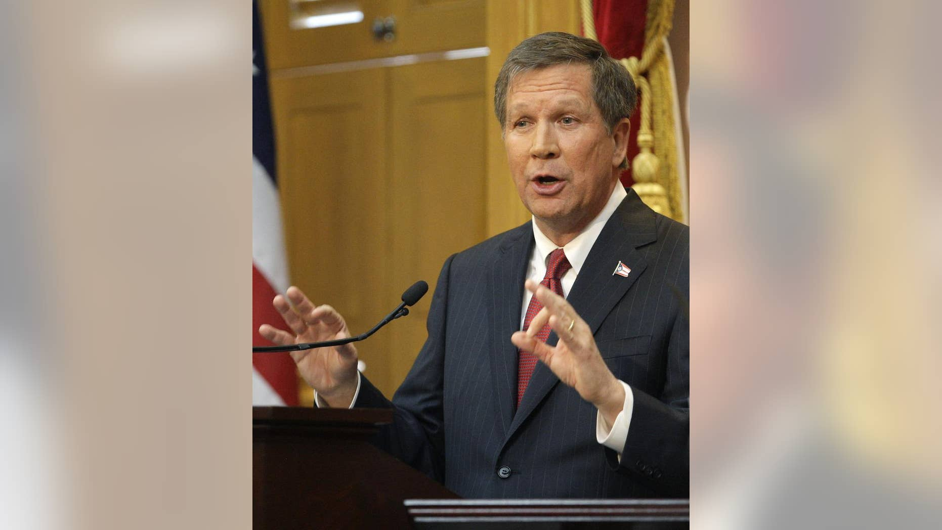 Ohio Gov. John Kasich delivers the State of the State address Tuesday, March 8, 2011, in Columbus, Ohio. (AP Photo/Jay LaPrete)