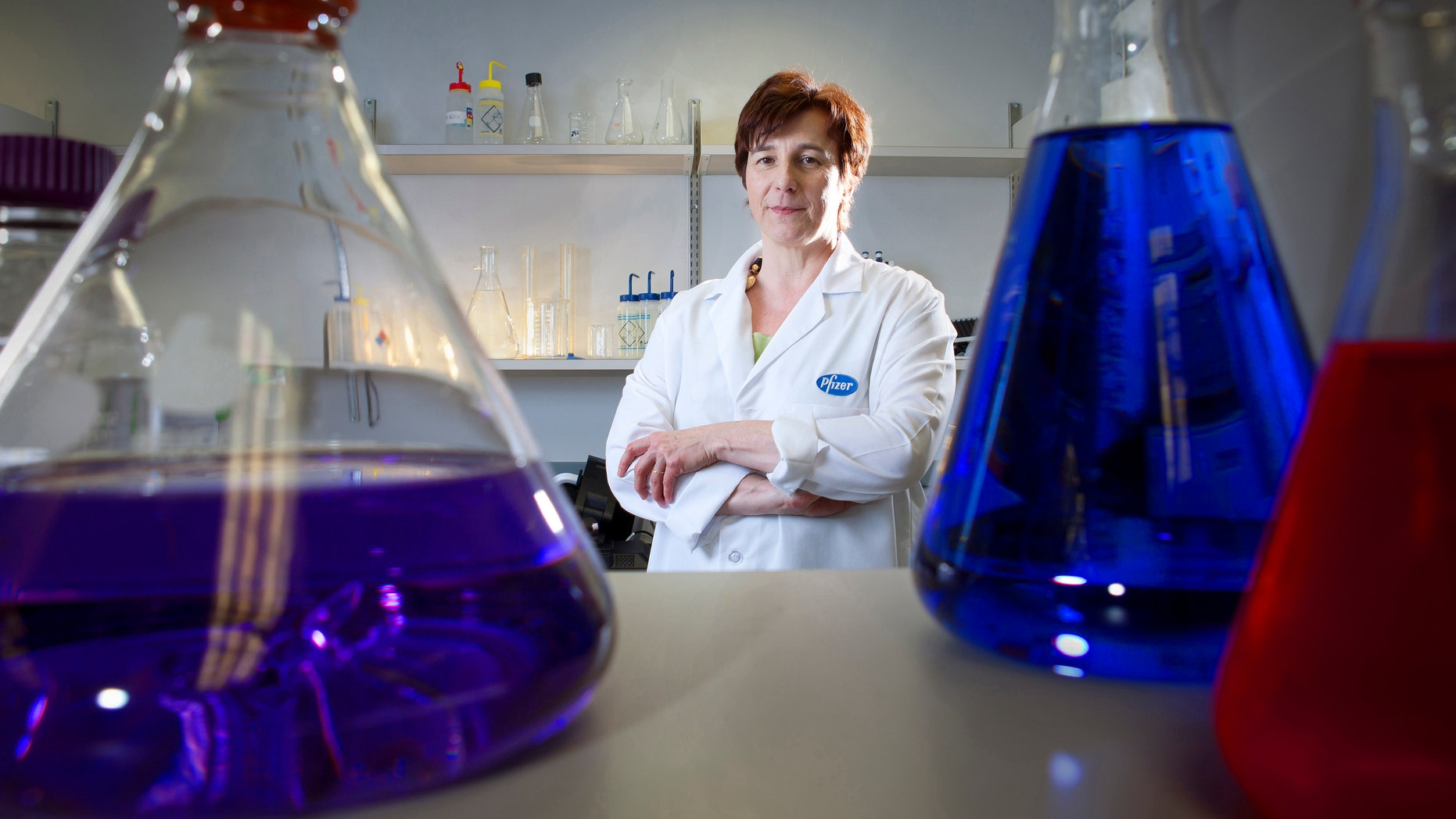 Kathrin Jansen, senior vice president of Vaccine Research and Early Development at Pfizer Inc, poses for a portrait in one of her labs at Pfizer headquarters in Pearl River, New York.