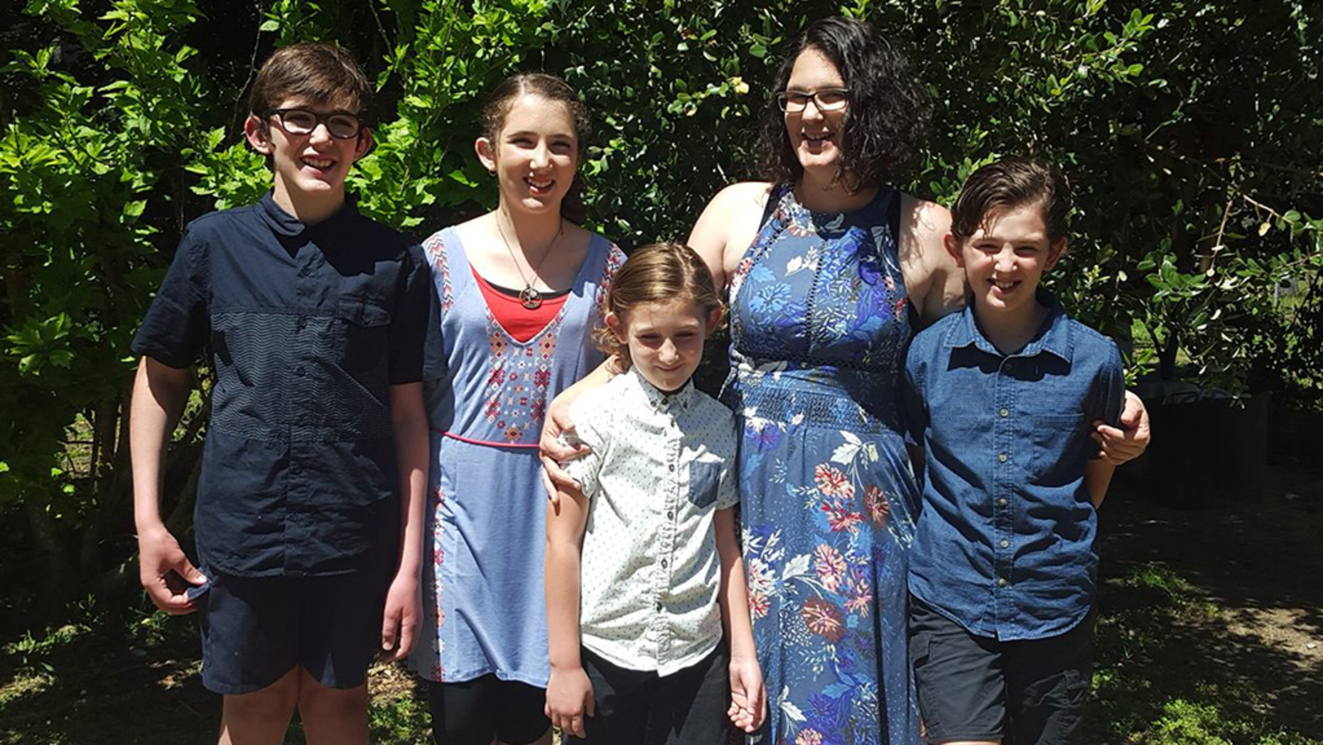 Katrina Miles (second from right) with her children Rylan, Taye, Kayden and Ayre (left to right). They were shot and killed in Australia's worst mass shooting in 22 years.