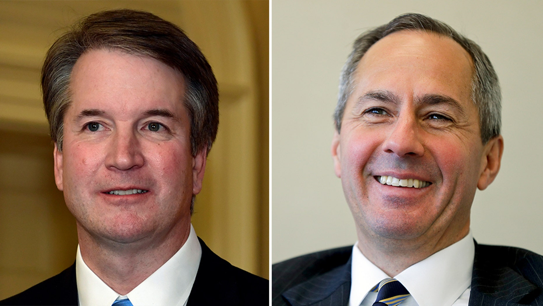 The Democrats' Twitter account posted a warning about President Trump's Supreme Court pick -- showing Judge Thomas Hardiman, right, not Judge Brett Kavanaugh.