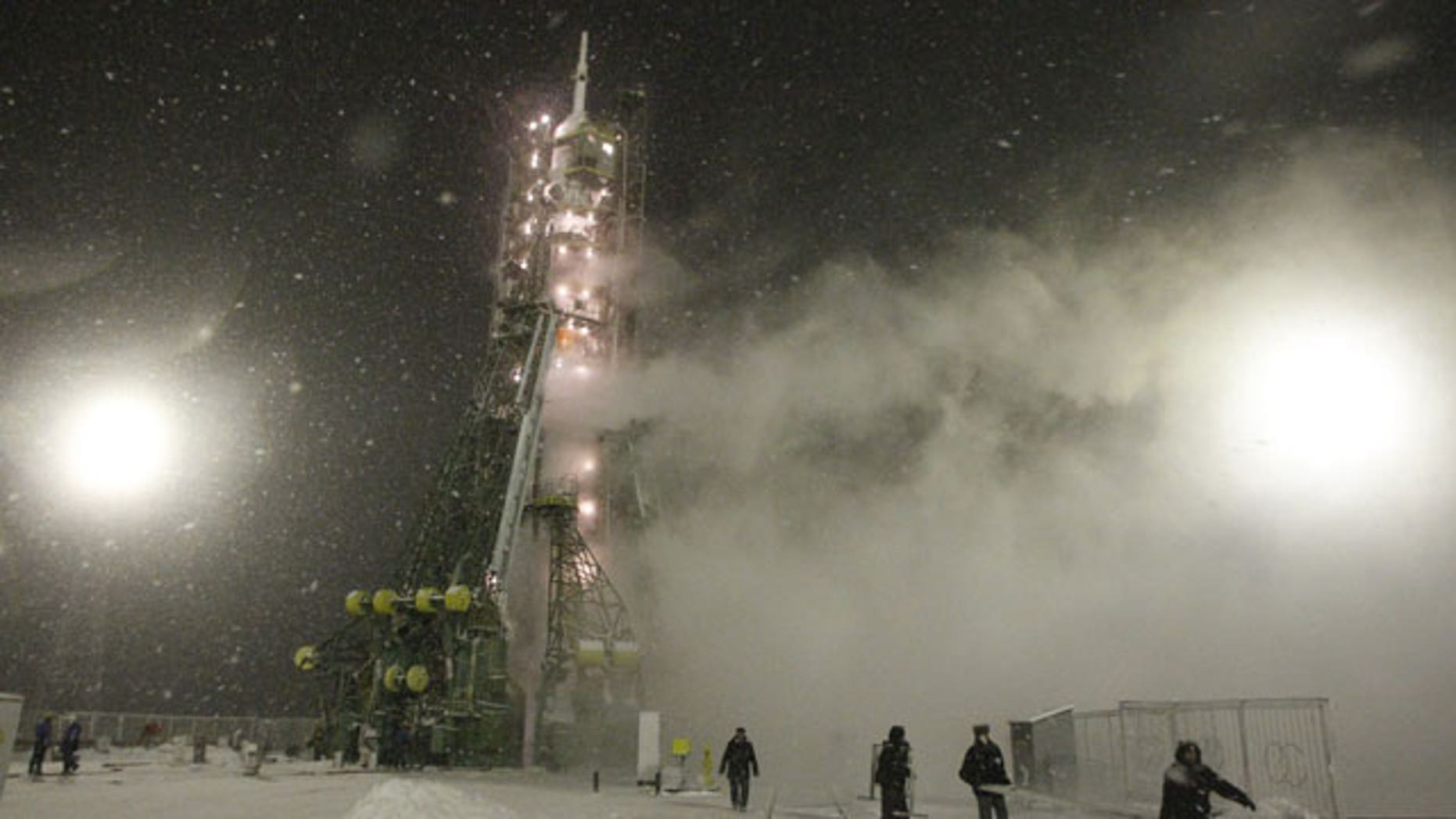 November 14, 2011: The Russian Soyuz TMA-22 space ship attached on the Soyuz-FG rocket booster is seen prior to the launch at the Russian leased Baikonur Cosmodrome in Kazakhstan.