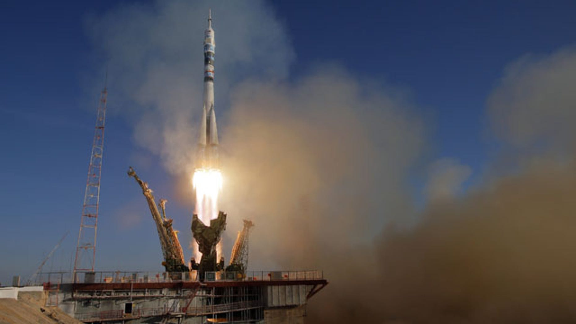 November 7, 2013: The Soyuz-FG rocket booster with Soyuz TMA-11M space ship carrying new crew to the International Space Station, ISS, blasts off at the Russian leased Baikonur cosmodrome, Kazakhstan. The rocket carrying the Olympic flame successfully blasted off Thursday from earth ahead of the Sochi 2014 Winter Games. (AP Photo/Dmitry Lovetsky)