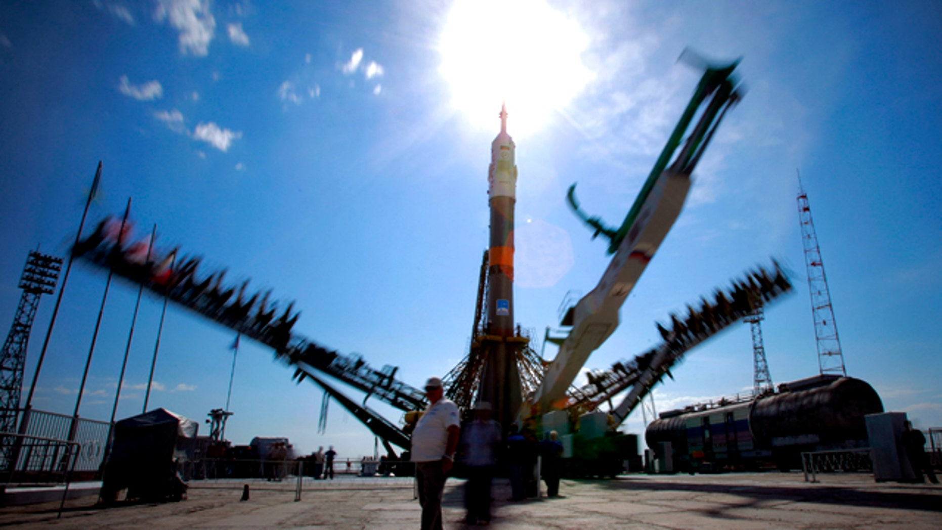 June 5, 2011: Service towers lift to the Russian Soyuz TMA-02M space ship that will carry new crew to the International Space Station, ISS,  at the launch pad at the Russian leased Baikonur cosmodrome, Kazakhstan. The start of the new Soyuz mission to the International Space Station is scheduled on Wednesday, June 8.