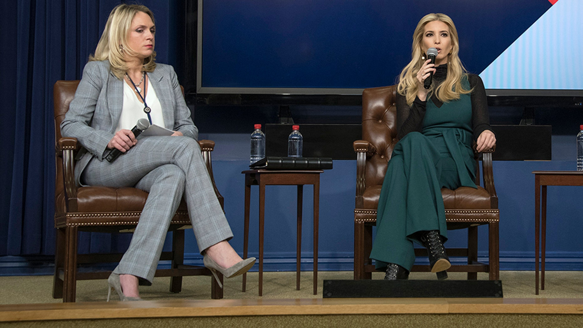 Kelly Sadler, left, participates in a panel with Ivanka Trump at the White House in March of this year.