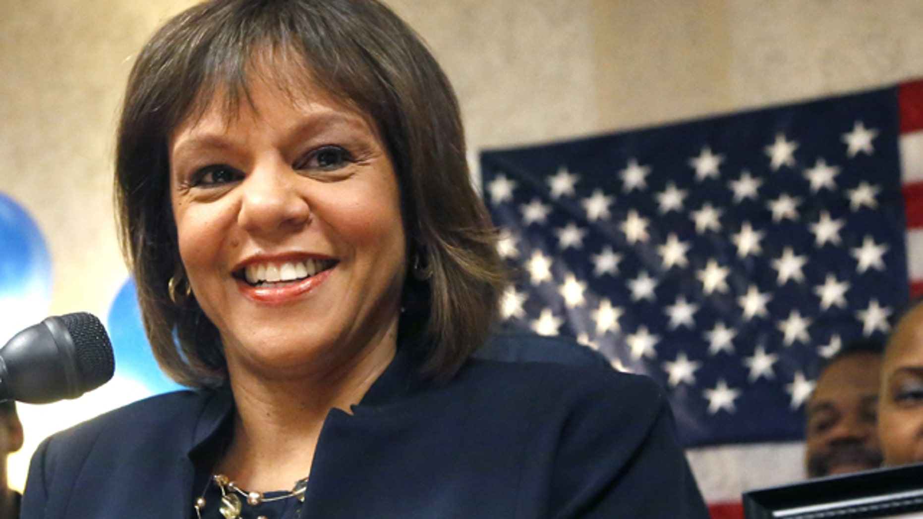 Feb. 26, 2013: Robin Kelly celebrates her special primary election win for Illinois' 2nd Congressional District, once held by Jesse Jackson Jr.