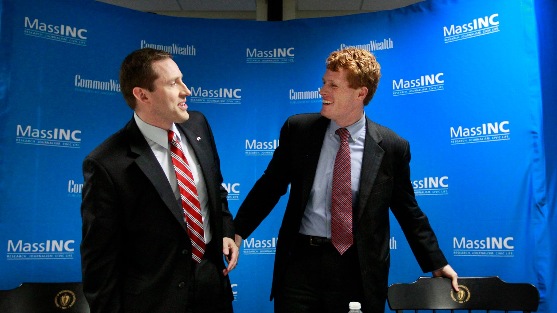 Wednesday, Oct. 10, 2012: U.S. congressional candidates, Republican Sean Bielat, left, and Democrat Joseph Kennedy III, right, at a debate in Fall River, Mass.