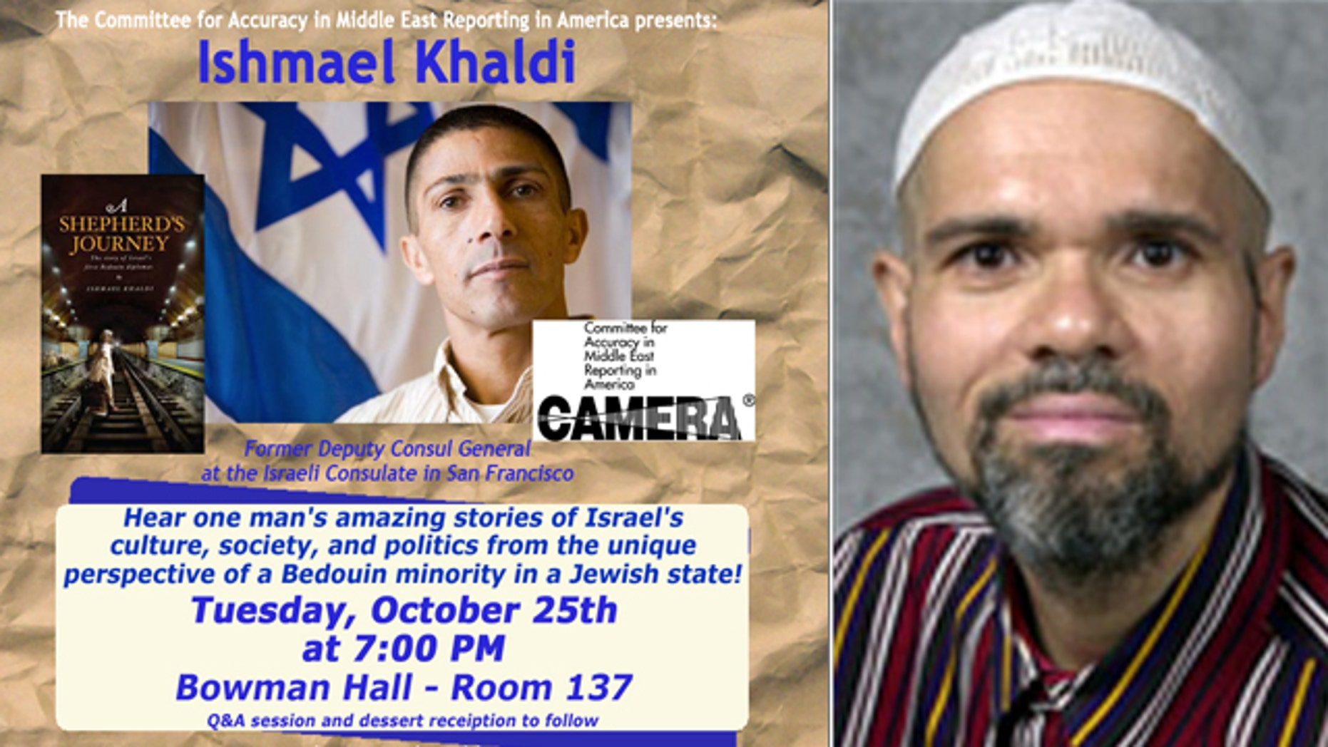 """Kent State University history professor Julio Pino, right, shouted """"Death to Israel"""" at a presentation by Israeli consulate official Ismael Khaldi, seen in this flyer for the event."""