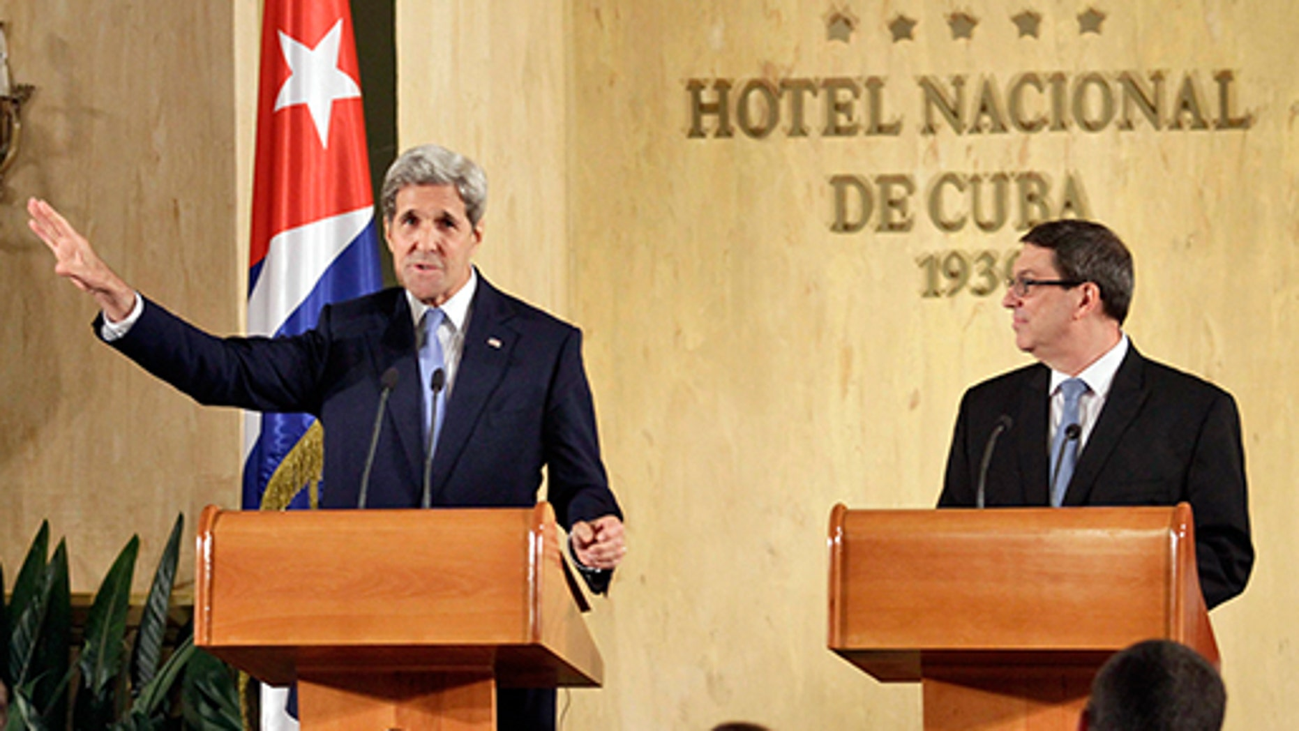 aption:HAVANA, CUBA - AUGUST 14: U.S. Secretary of State John Kerry (L) and Cuban Minister of Foreign Affairs Bruno Rodriguez Parrilla (R) give a joint press conference in the Hotel Nacional after a flag-raising ceremony at the U.S. Embassy in Cuba, on August 14, 2015 in Havana, Cuba. The first American Secretary of State to visit Cuba since 1945, Kerry presided over the flag-raising ceremony at the recently reopened U.S. Embassy, a symbolic act after the two Cold War enemies reestablished diplomatic relations in July. (Photo by Sven Creutzmann/Mambo Photo/Getty Images)