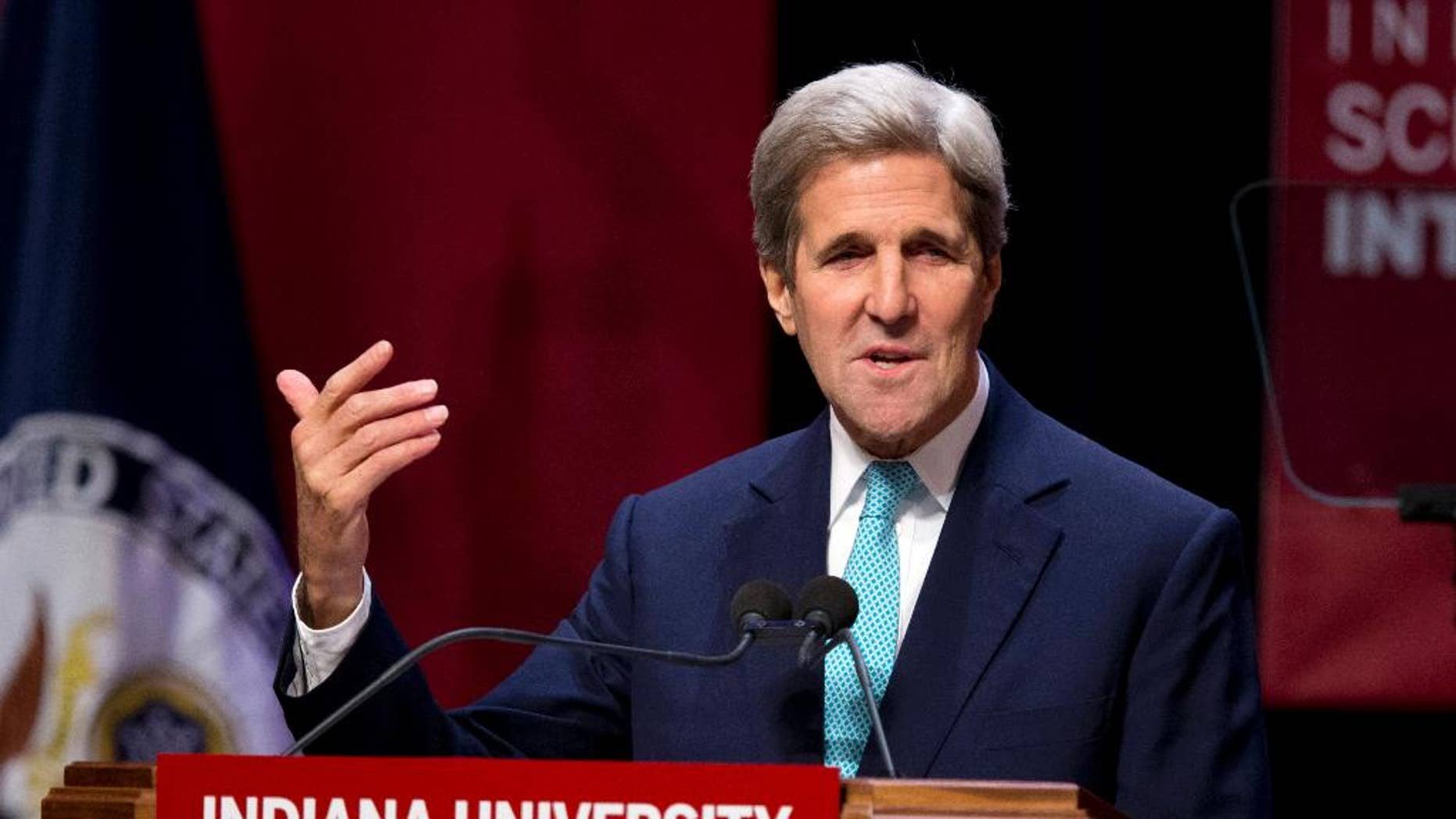 Secretary of State John Kerry talks about foreign policy priorities during a speech at Indiana University in Bloomington, Ind., Thursday, Oct. 15, 2015. Kerry spoke to mark the opening of the new building for IU's School of Global and International Studies. (AP Photo/Michael Conroy)