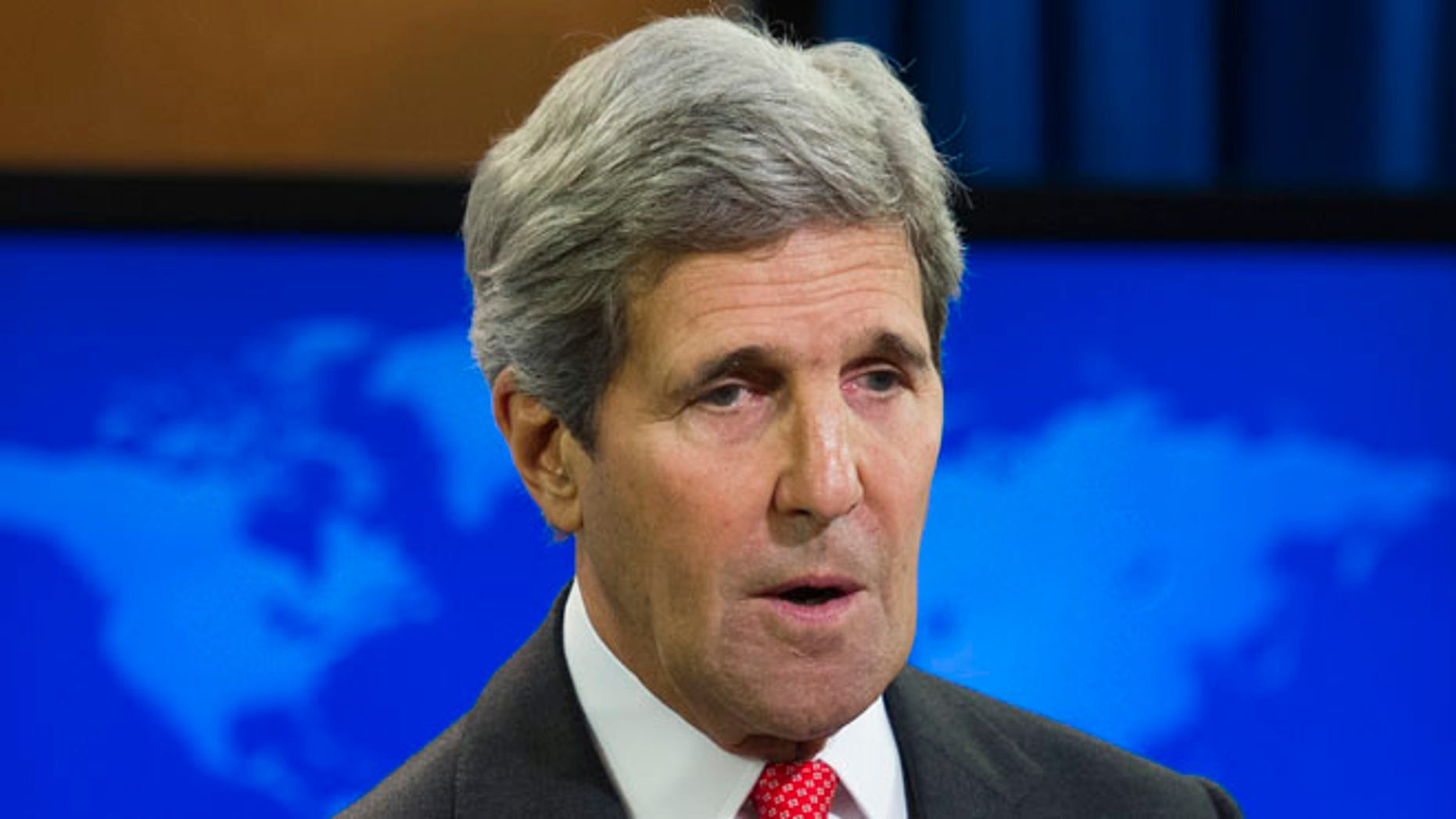 FILE: July 28, 2014: Secretary of State John Kerry speaks at the State Department in Washington, D.C.