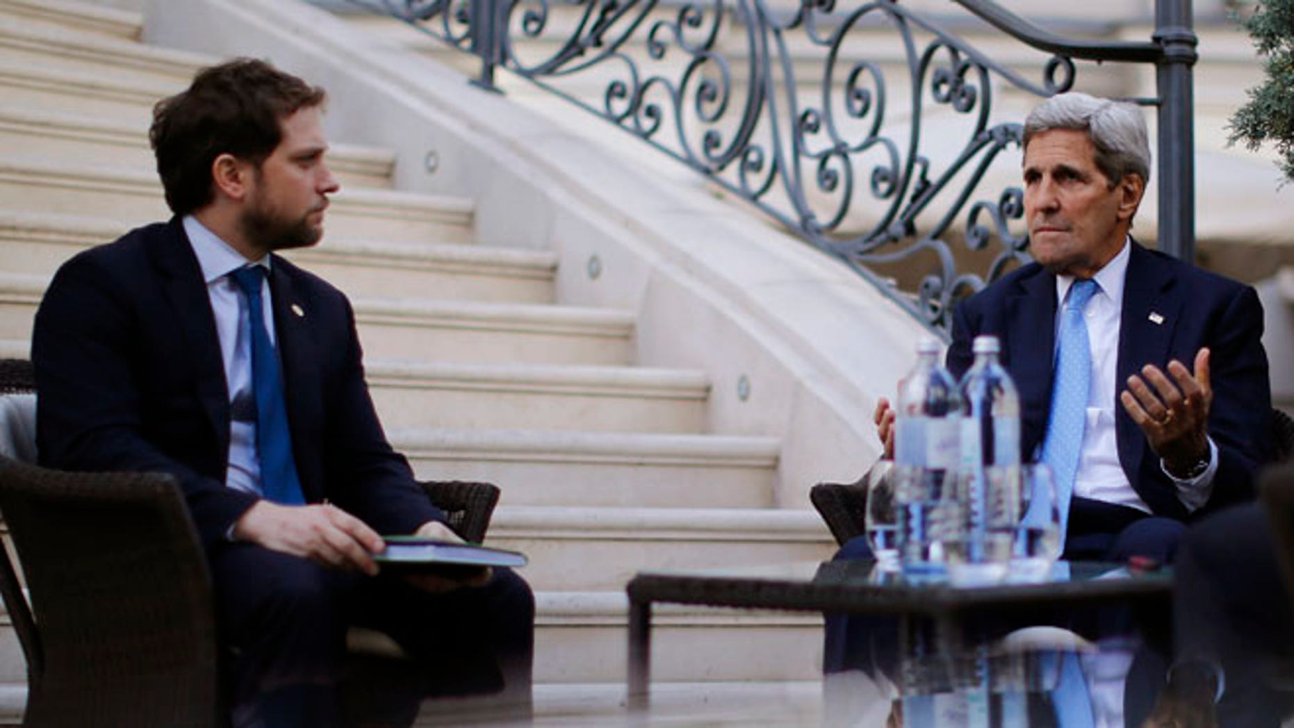 July 10, 2015: Secretary of State John Kerry, right, and State Department Chief of Staff Jon Finer at the Iran nuclear talks, Vienna, Austria.