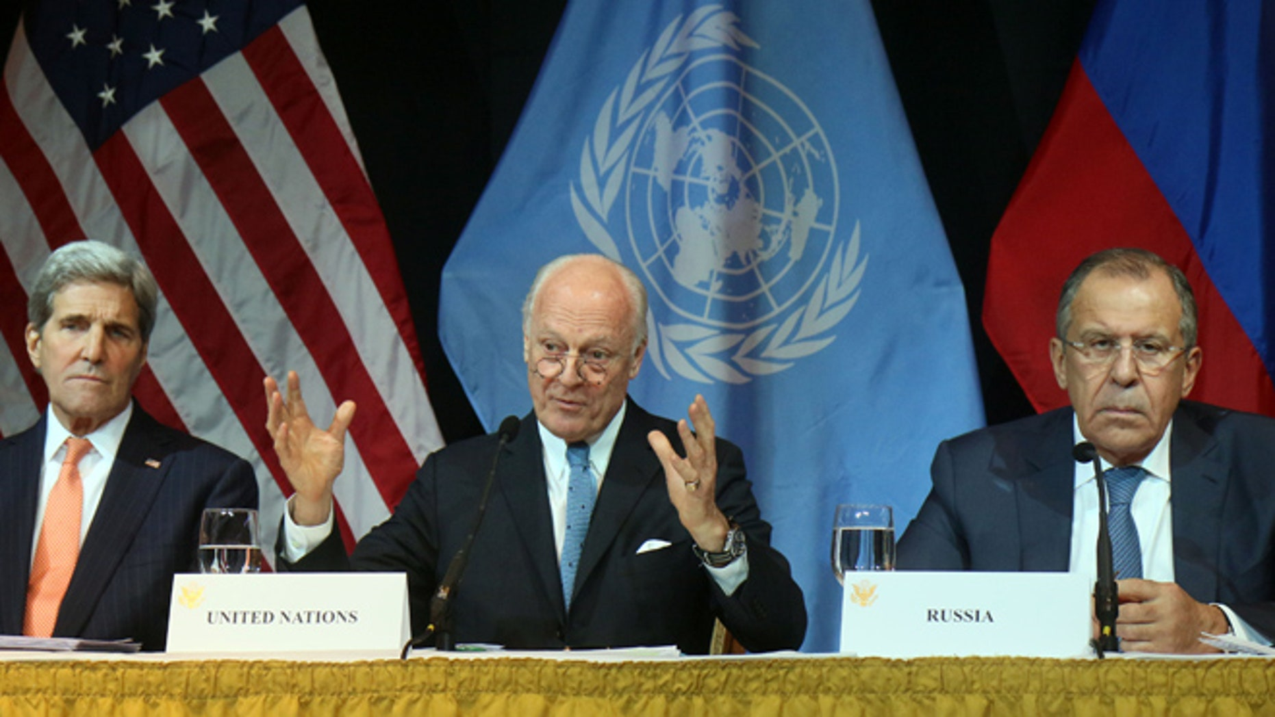 Nov. 14, 2015: Secretary of State John Kerry, UN Special Envoy for Syria Staffan de Mistura  and Russian Foreign Minister Sergey Lavrov, in Vienna.