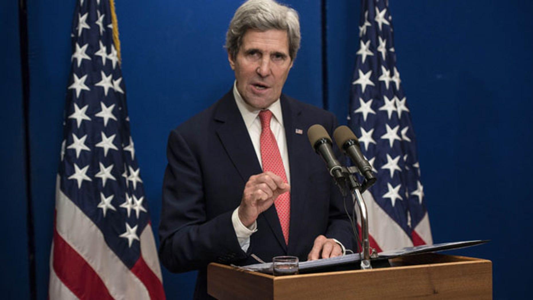 Jan. 5, 2014: U.S. Secretary of State John Kerry speaks during a press conference at the David Citadel Hotel in Jerusalem.
