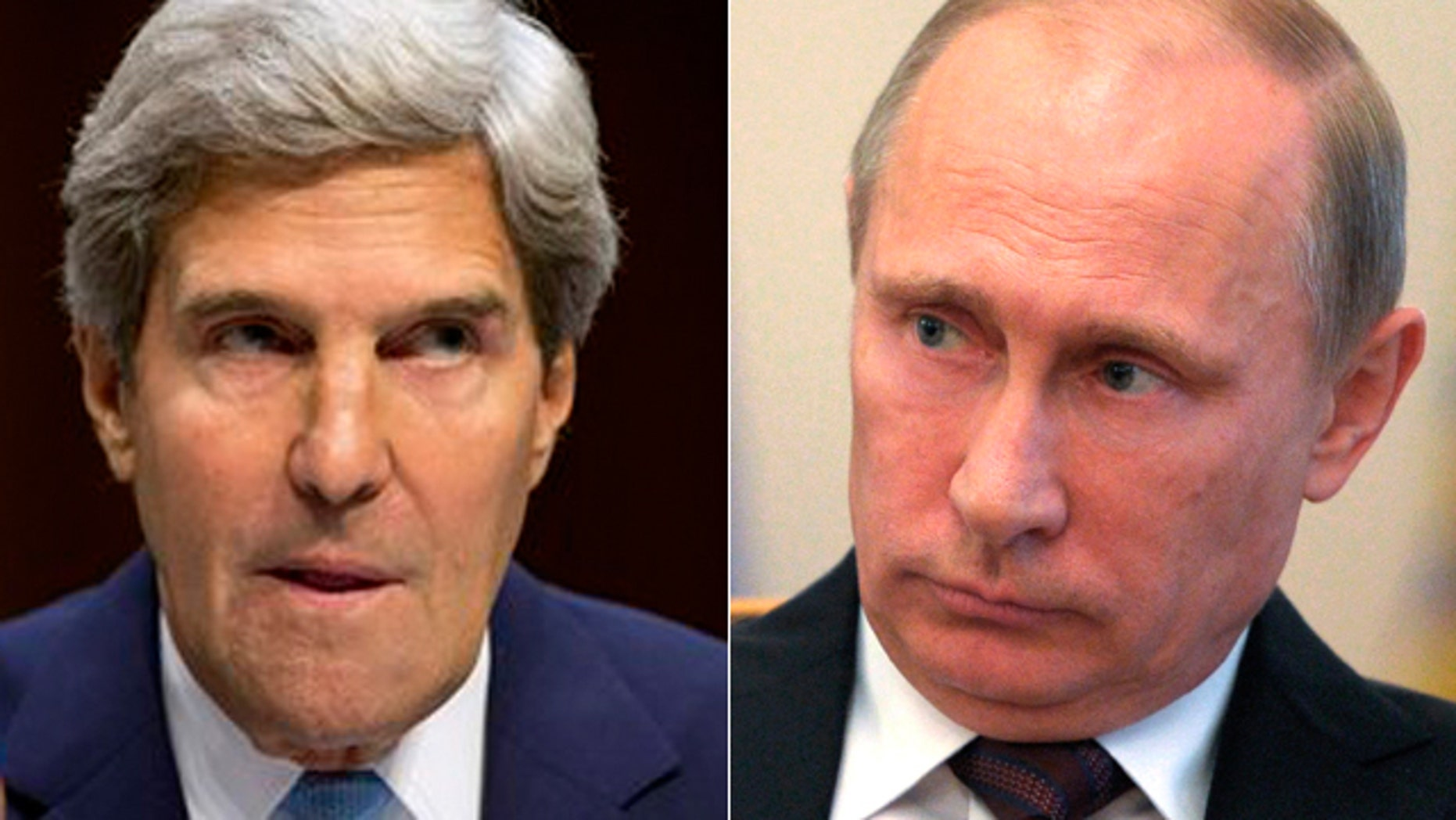 Sec. of State Kerry, left, and Russian President Putin.