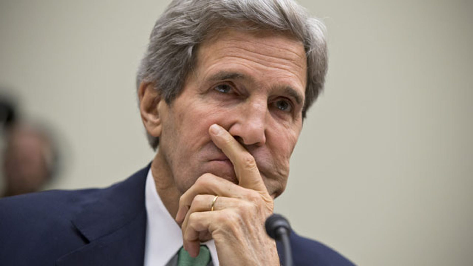 December 10, 2013: Secretary of State John Kerry testifies on Capitol Hill in Washington, before the House Foreign Affairs Committee. (AP Photo)