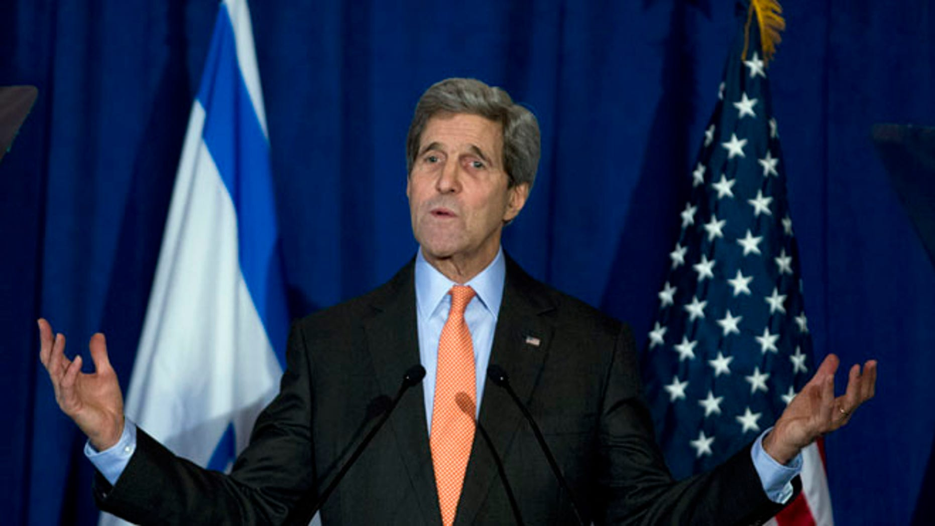 FILE: Dec. 7, 2014: Secretary of State John Kerry at the Brookings Institution, in Washington, D.C.