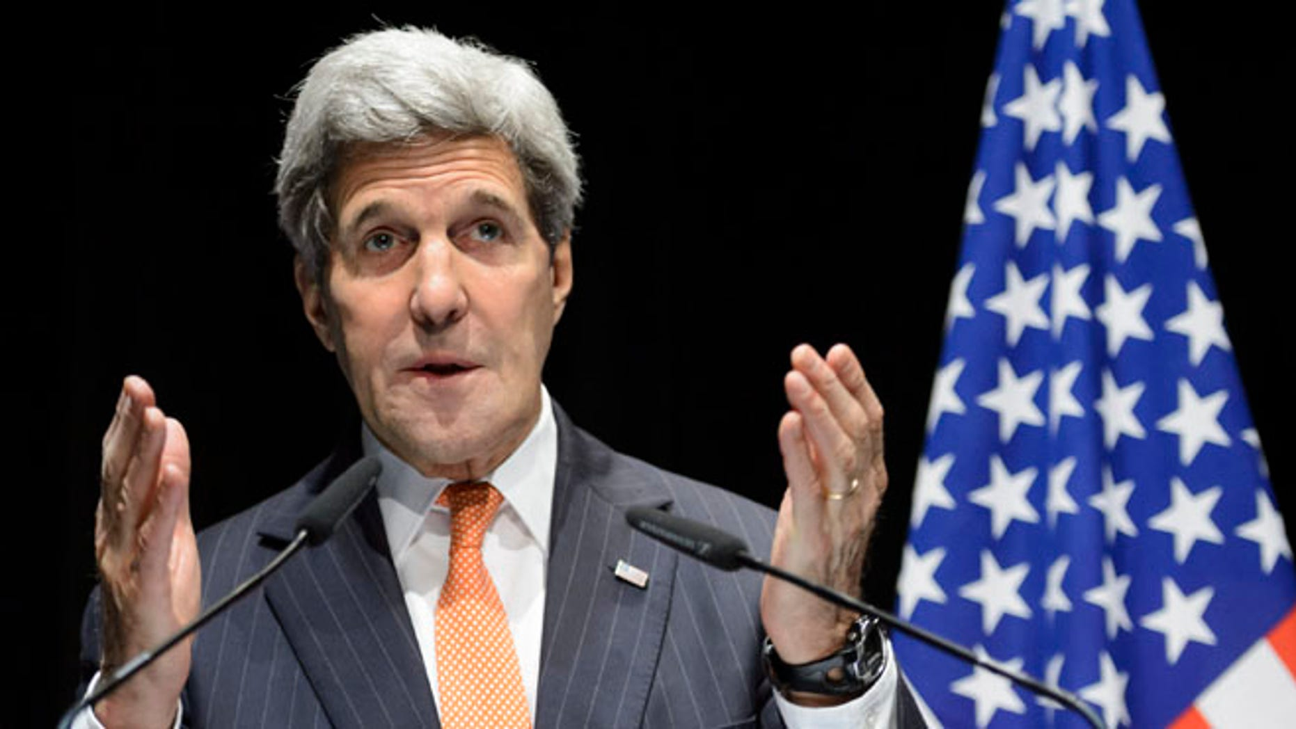FILE: March 21, 2015: Secretary of State John Kerry at a  news conference after bilateral meetings with Iranian Foreign Minister Mohammad Javad Zarif  about  Iran's nuclear program, in Lausanne, Switzerland.
