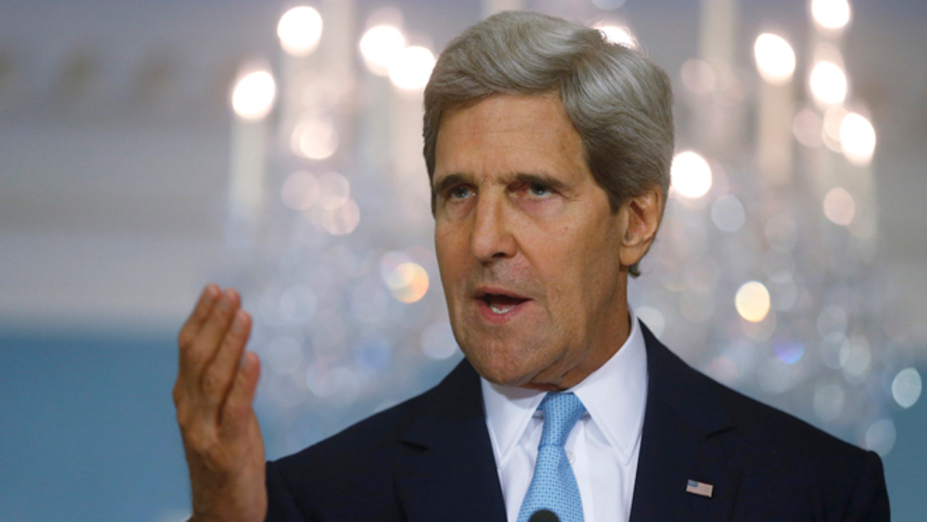 FILE: Aug. 30, 2013.Secretary of State John Kerry makes a statement about Syria at the State Department in Washington, D.C.