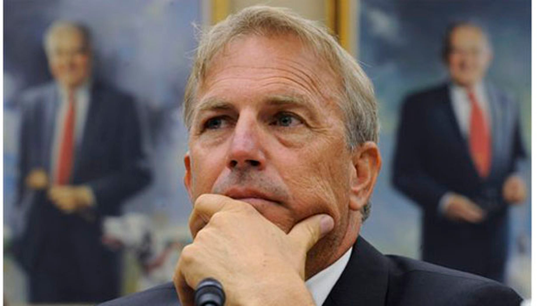 June 17, 2010: Actor and partner of Ocean Therapy Solutions Kevin Costner  listens to testimony, on Capitol Hill in Washington (AP)