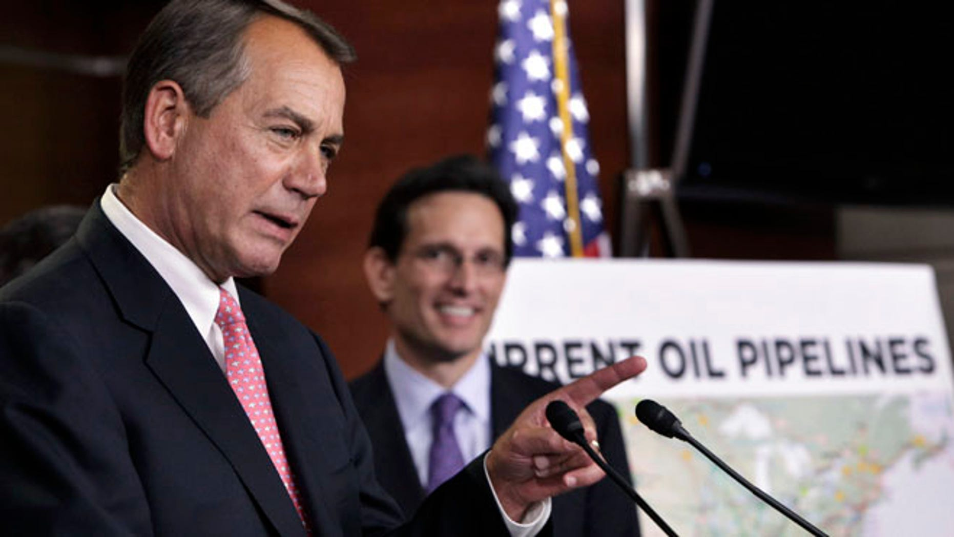 FILE: January 18, 2012: House Speaker John Boehner and House Majority Leader Eric Cantor at Capitol Hill news conference about the Keystone XL pipeline.