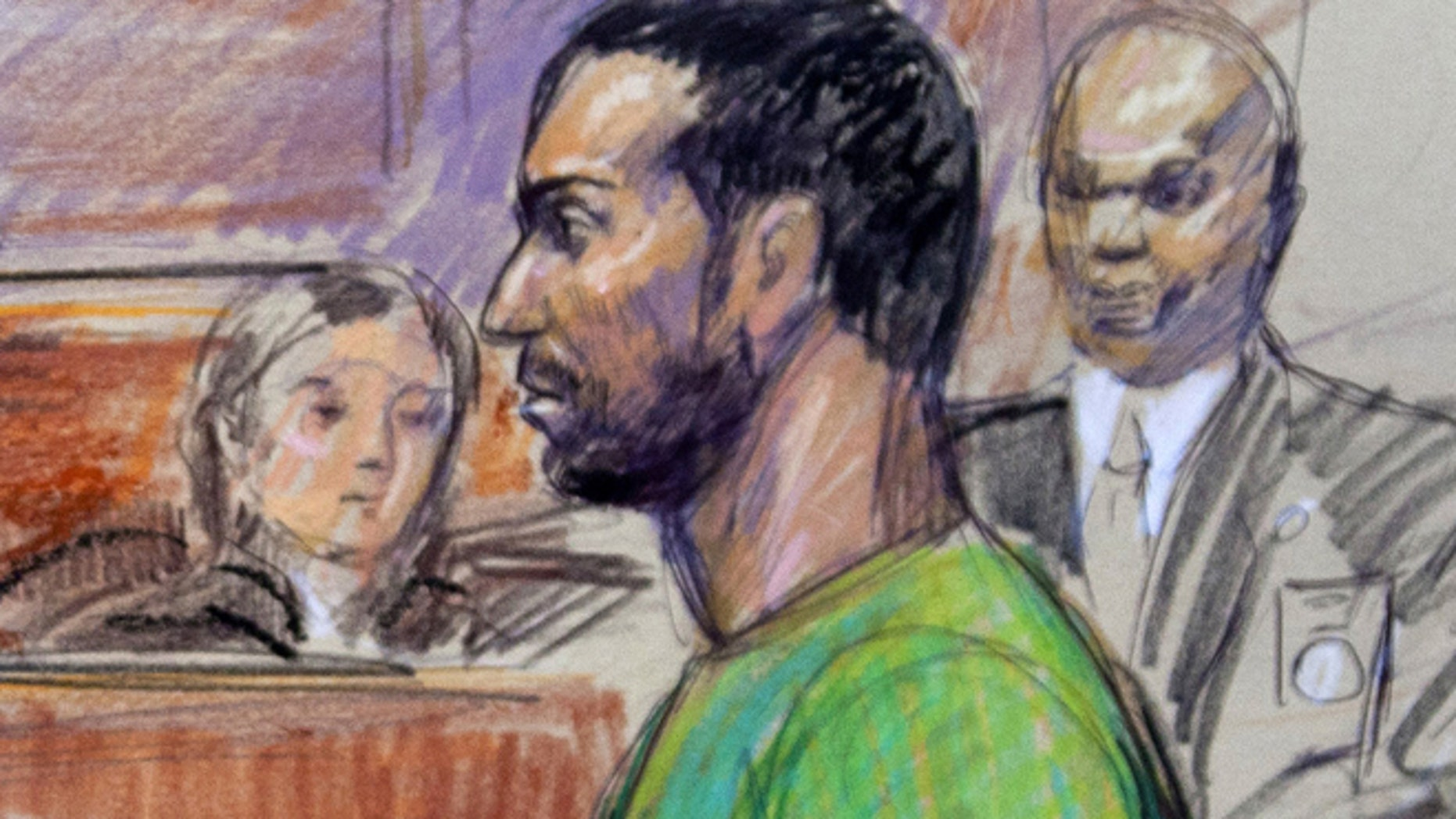 Feb. 17, 2012: Artist rendering shows Amine El Khalifi in federal court in Alexandria, Va.