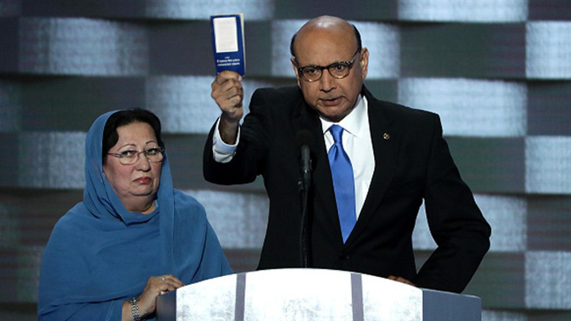Khizr Khan, father of deceased Muslim U.S. Soldier Humayun S. M. Khan,  July 28, 2016 in Philadelphia, Pennsylvania.