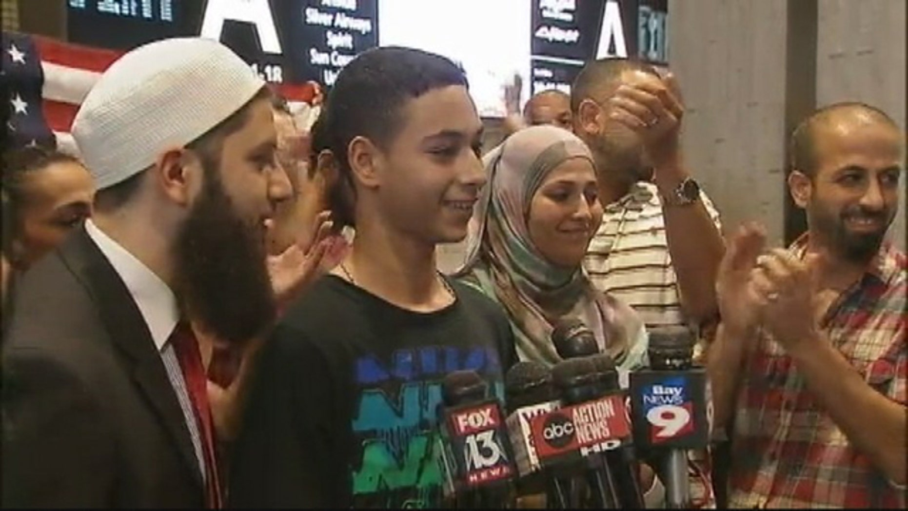 July 16, 2014: Tariq Khdeir addresses the media and supporters at Tampa International Airport after returning from Israel via New York (MyFoxTampaBay.com)