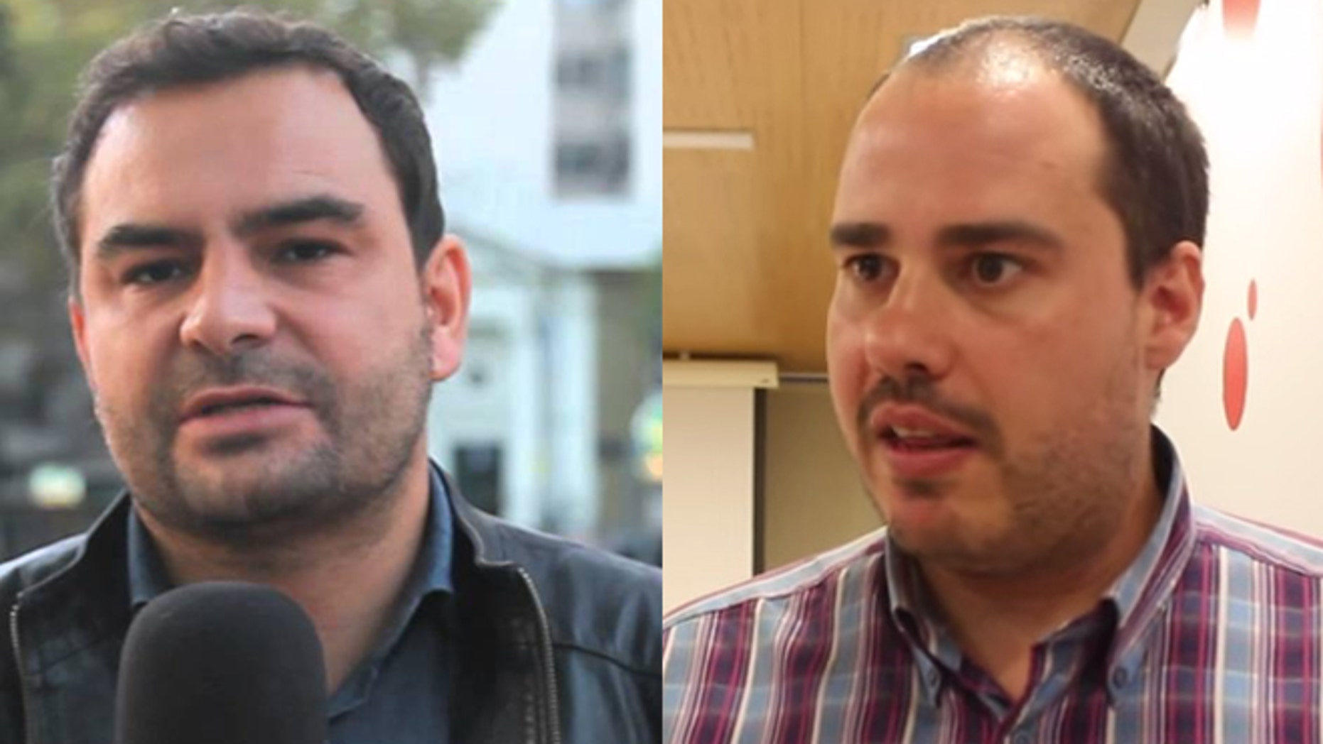 A photo composite of Angel Sastre (R) and Antonio Pampliega (L), two of the three Spanish journalists kidnapped in Aleppo, Syria.