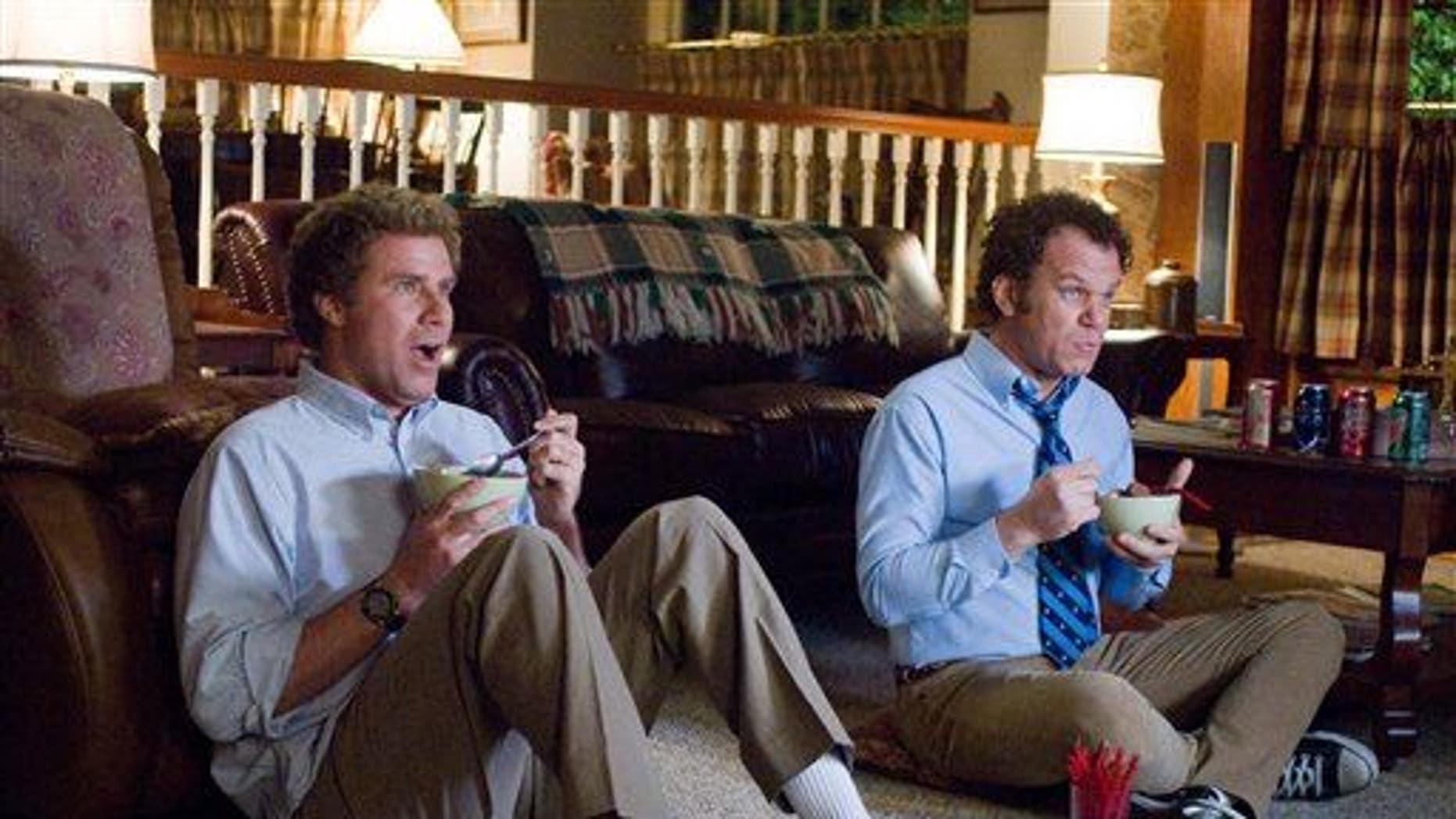 "In this image released by Columbia Pictures, Will Ferrell, left, and John C. Reilly are shown in a scene from, ""Step Brothers."""