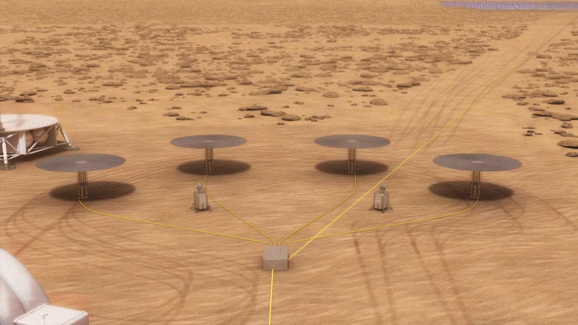 An artist's impression of a nuclear power system, consisting of four separate fission reactors, for Mars habitats.