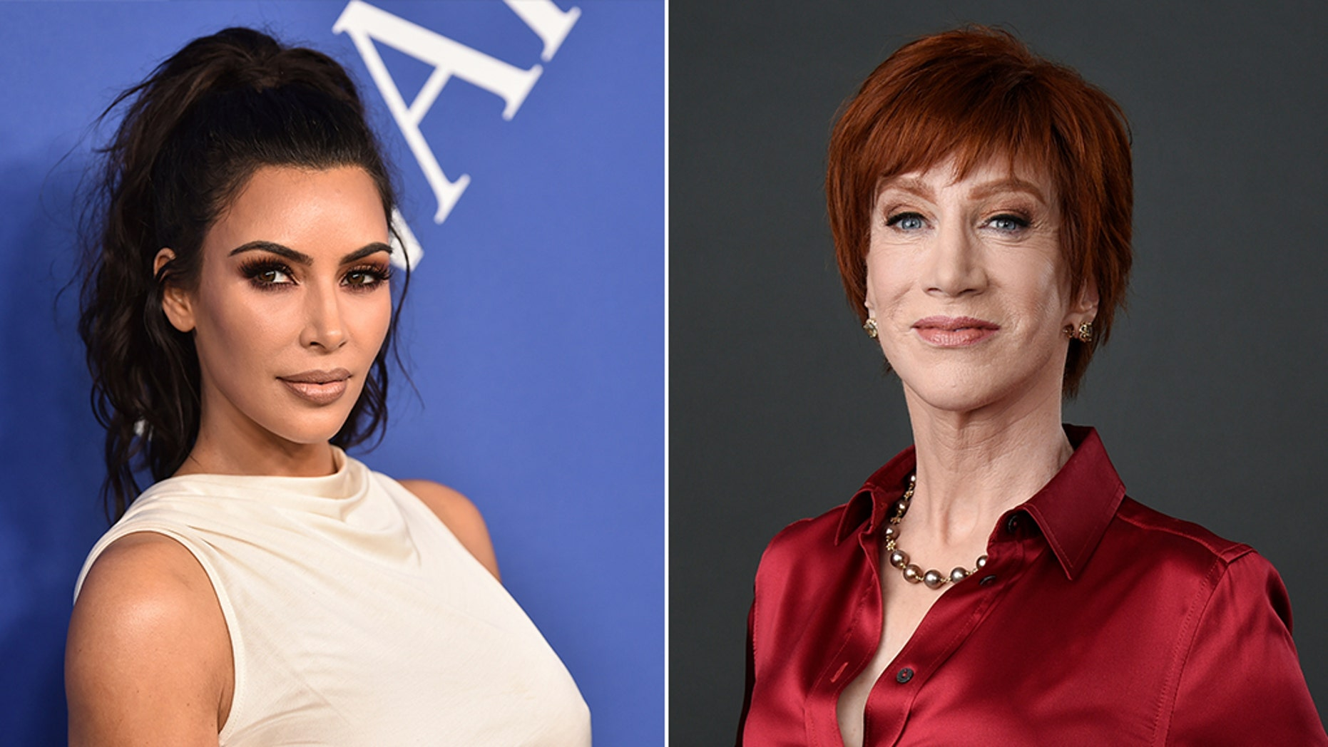 Kathy Griffin, right, reportedly suggested Kim Kardashian West, left, run for president in 2020.
