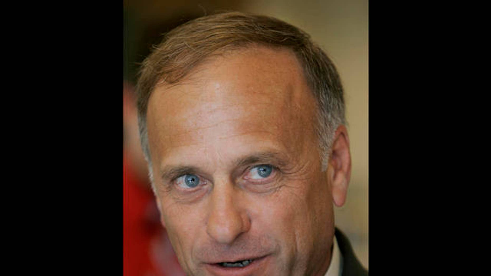 U.S. Rep. Steve King, R-Iowa, speaks to reporters following a farm bill congressional field hearing, Monday, July 31, 2006, at Dordt College in Sioux Center, Iowa. In his rural, western Iowa congressional district, King remains a popular two-term congressman. And his penchant for brash, and some say offensive, soundbites has helped King become something of a national spokesman for his party's far right wing. (AP Photo/Charlie Neibergall)
