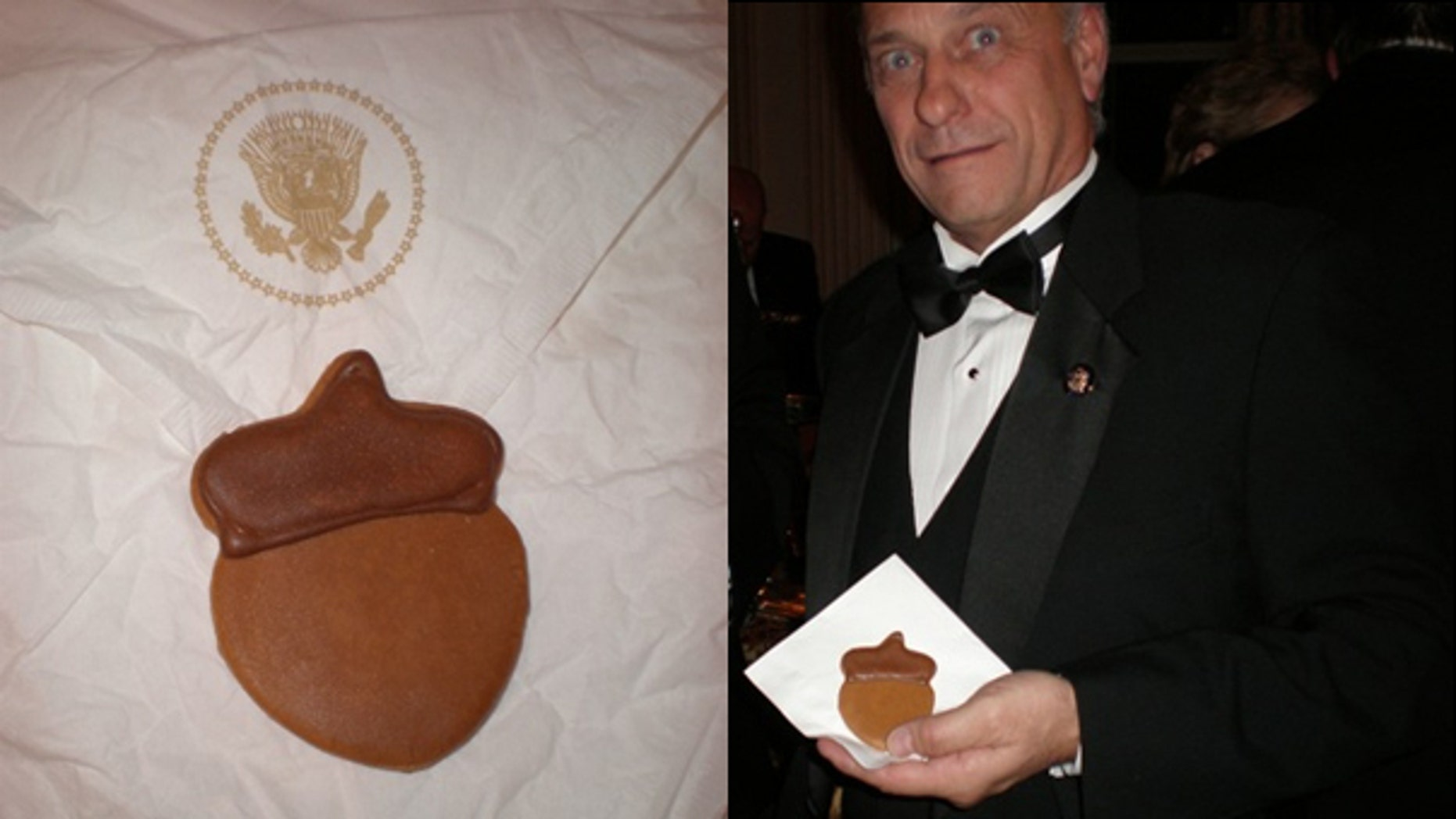 Rep. Steve King brandishes an acorn cookie served at the White House annual Christmas party, Monday, Dec. 7, 2009, (Rep. Steve King)