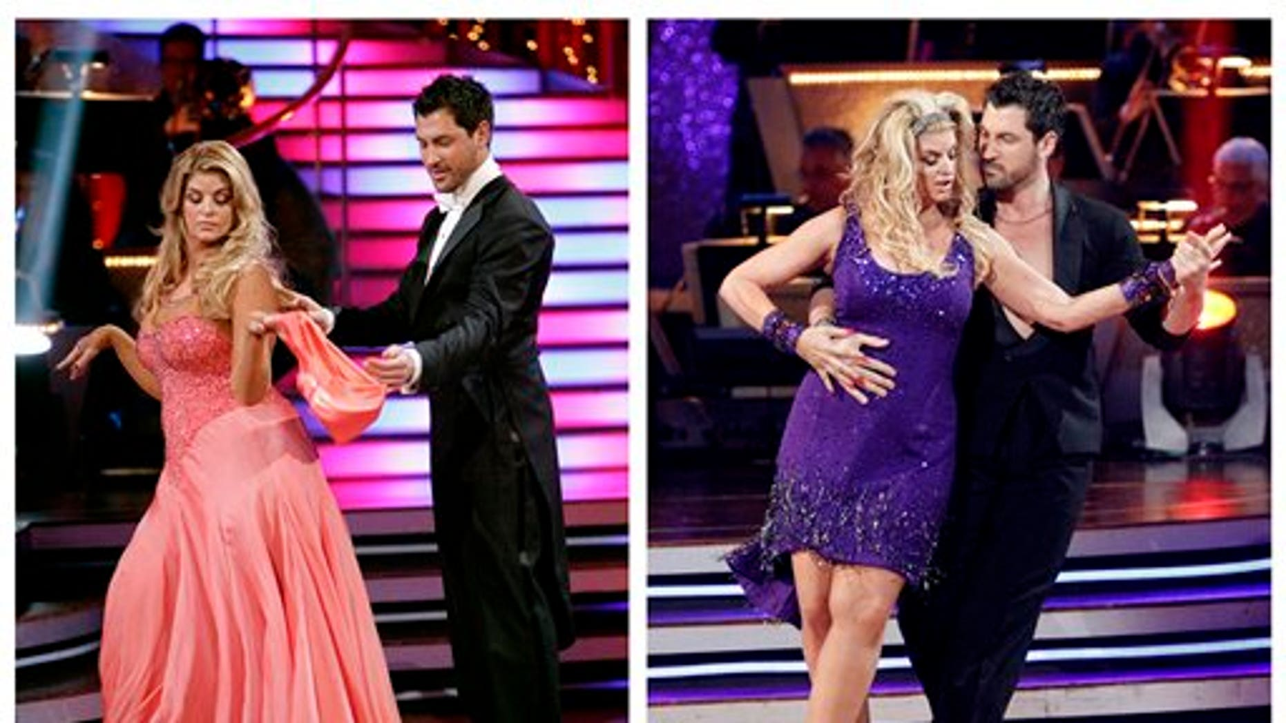 """In this photo combination of file images released by ABC, actress Kirstie Alley and her partner Maksim Chmerkovskiy perform on the celebrity dance competition series, """"Dancing with the Stars,"""" in Los Angeles, on March 28, 2011, at left, and May 16, 2011, at right."""