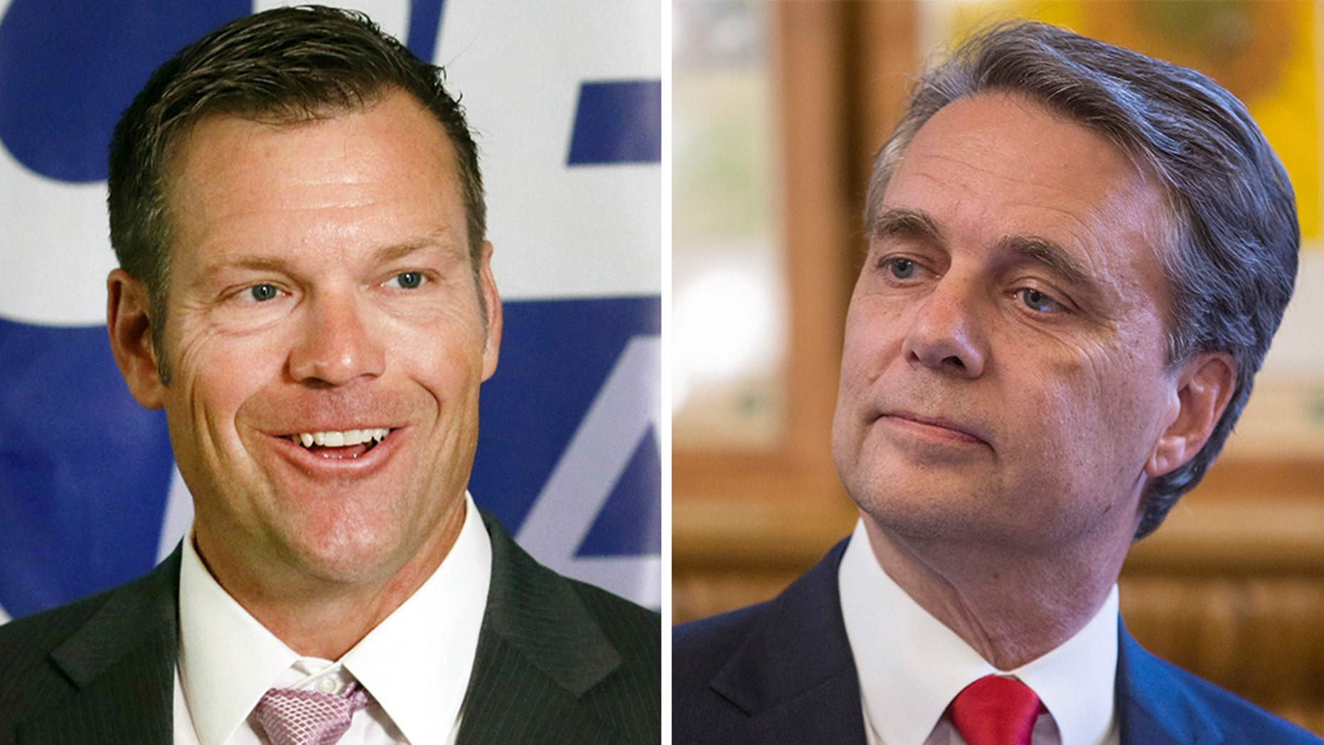 Kansas Secretary of State Kris Kobach (left) won the state's Republican gubernatorial primary after Gov. Jeff Colyer (right) conceded a week after their neck-and-neck finish threatened to send the race to a recount.