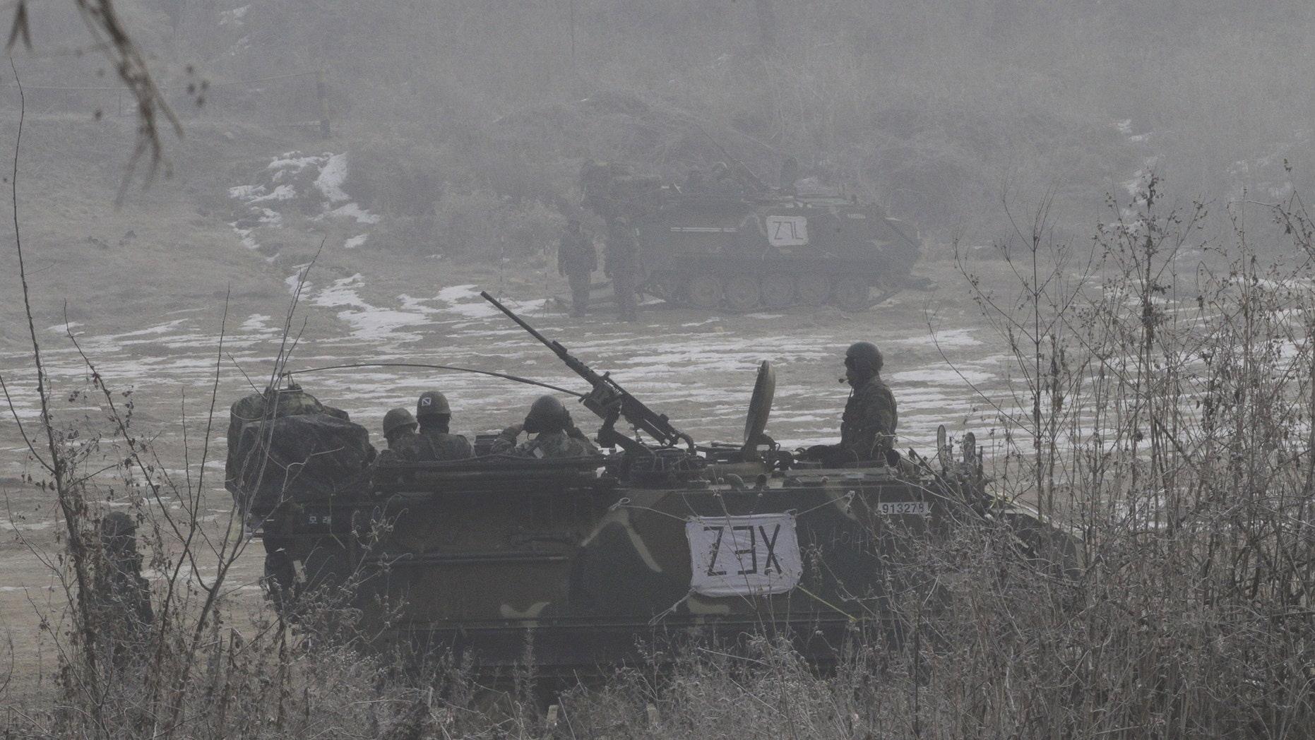 Jan. 17, 2014 - South Korean army armored vehicles during a military exercise in Paju, South Korea, near the demilitarized zone (DMZ) between the two Koreas.