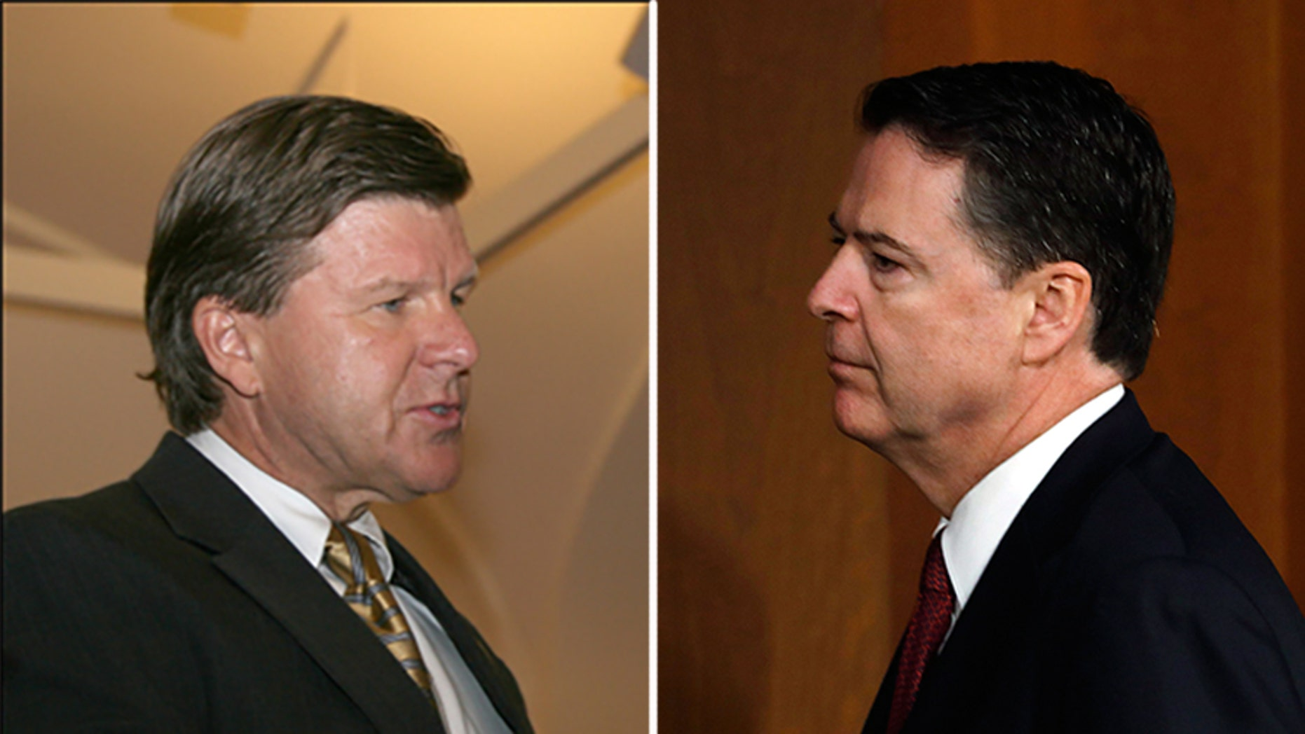 Michael Kortan, left, is leaving the FBI, after previously serving under James Comey and Robert Mueller.